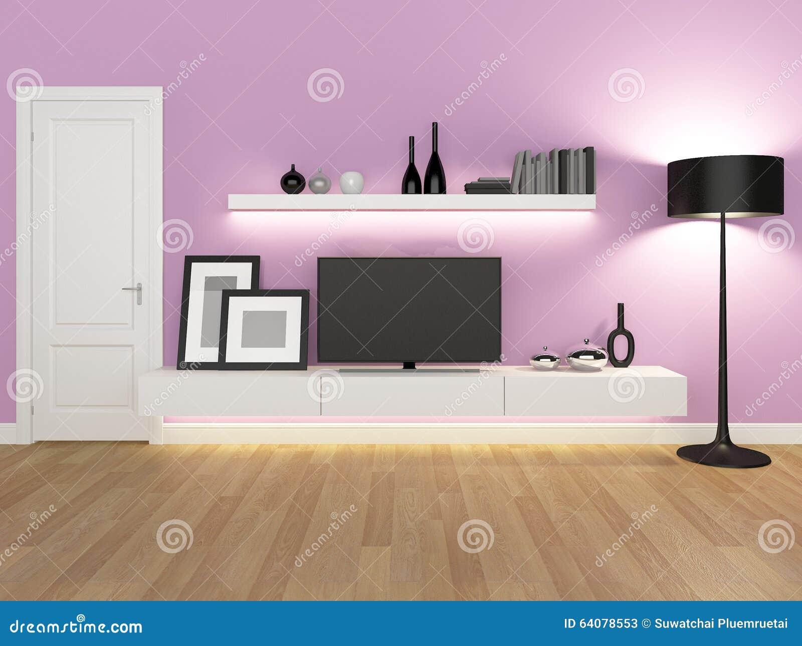 Rosa vardagsrum med den tvställningen och bokhyllan arkivfoto ...