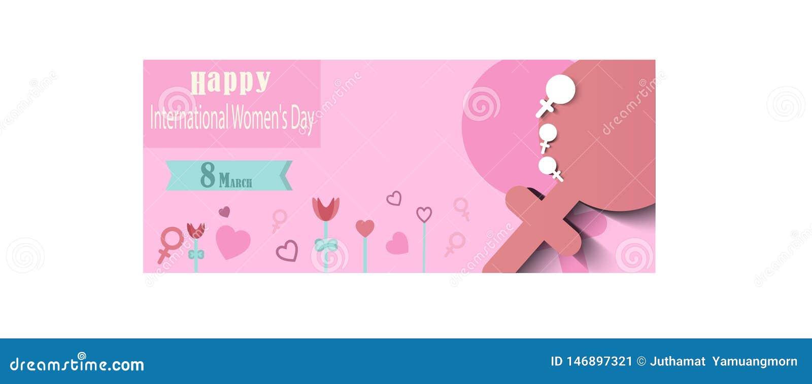 Rosa vektorabbildung Internationaler Hintergrund der Frauen Tages Vektor, Textentwurf Verwendbar f?r Fahnen