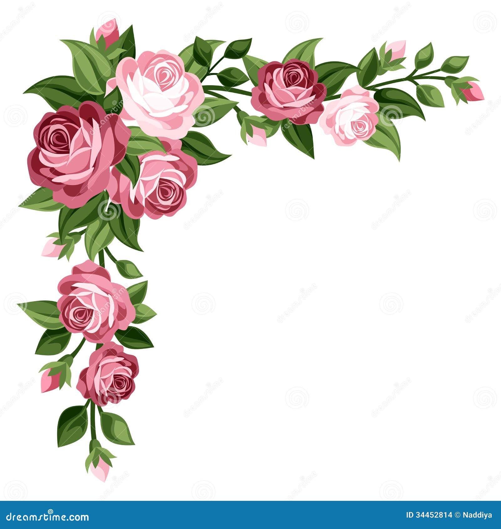Rosa Weinleserosen, -Rosebuds und -blätter.