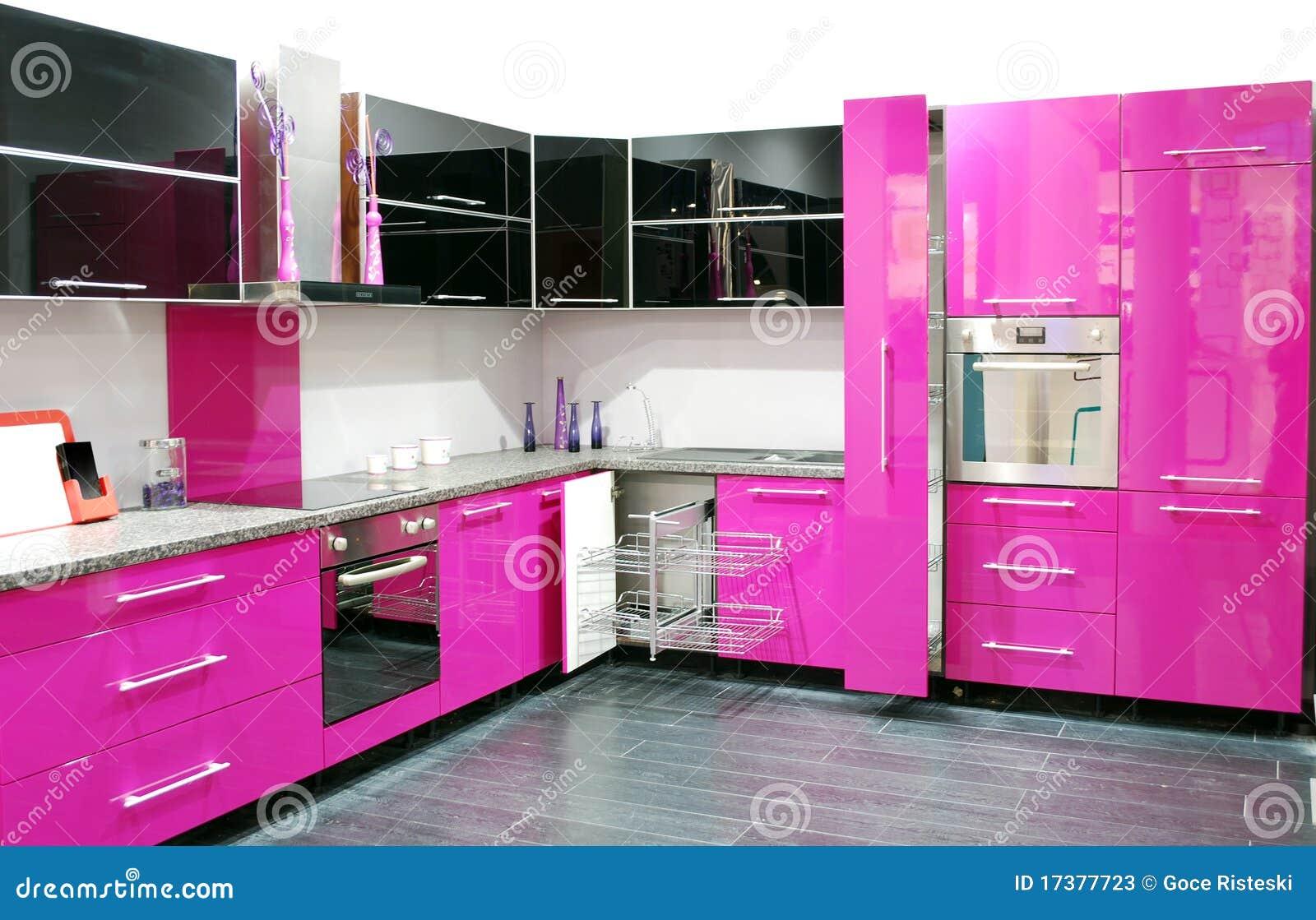 moderne rosa küche stockbild - bild: 38687091