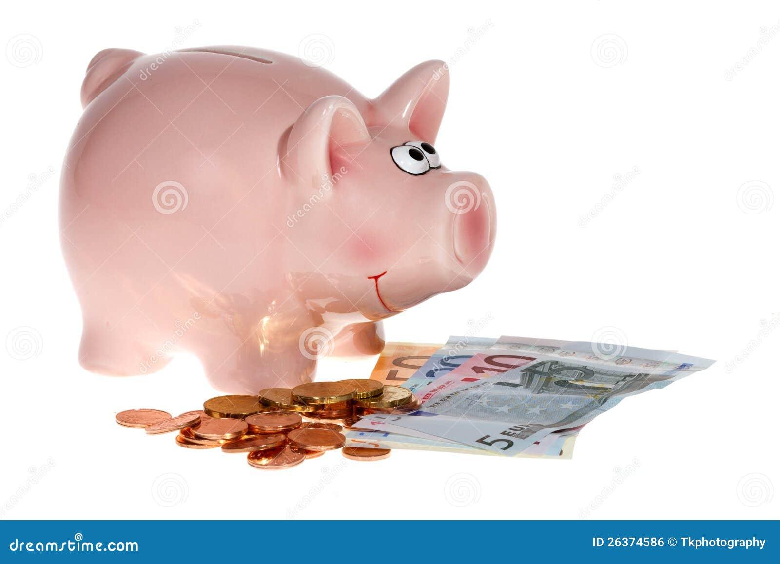 Rosafarbene piggy Querneigung mit Eurobanknoten