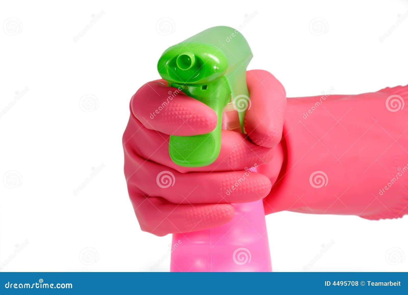 Rosafarbene Sprayflasche