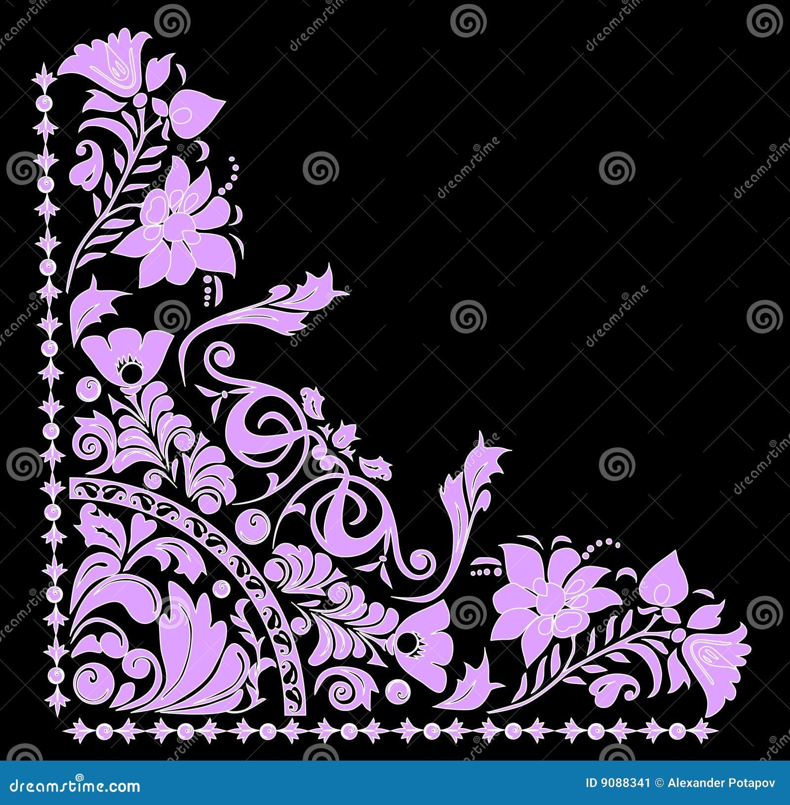 Rosafarbene und weiße Ecke auf Schwarzem