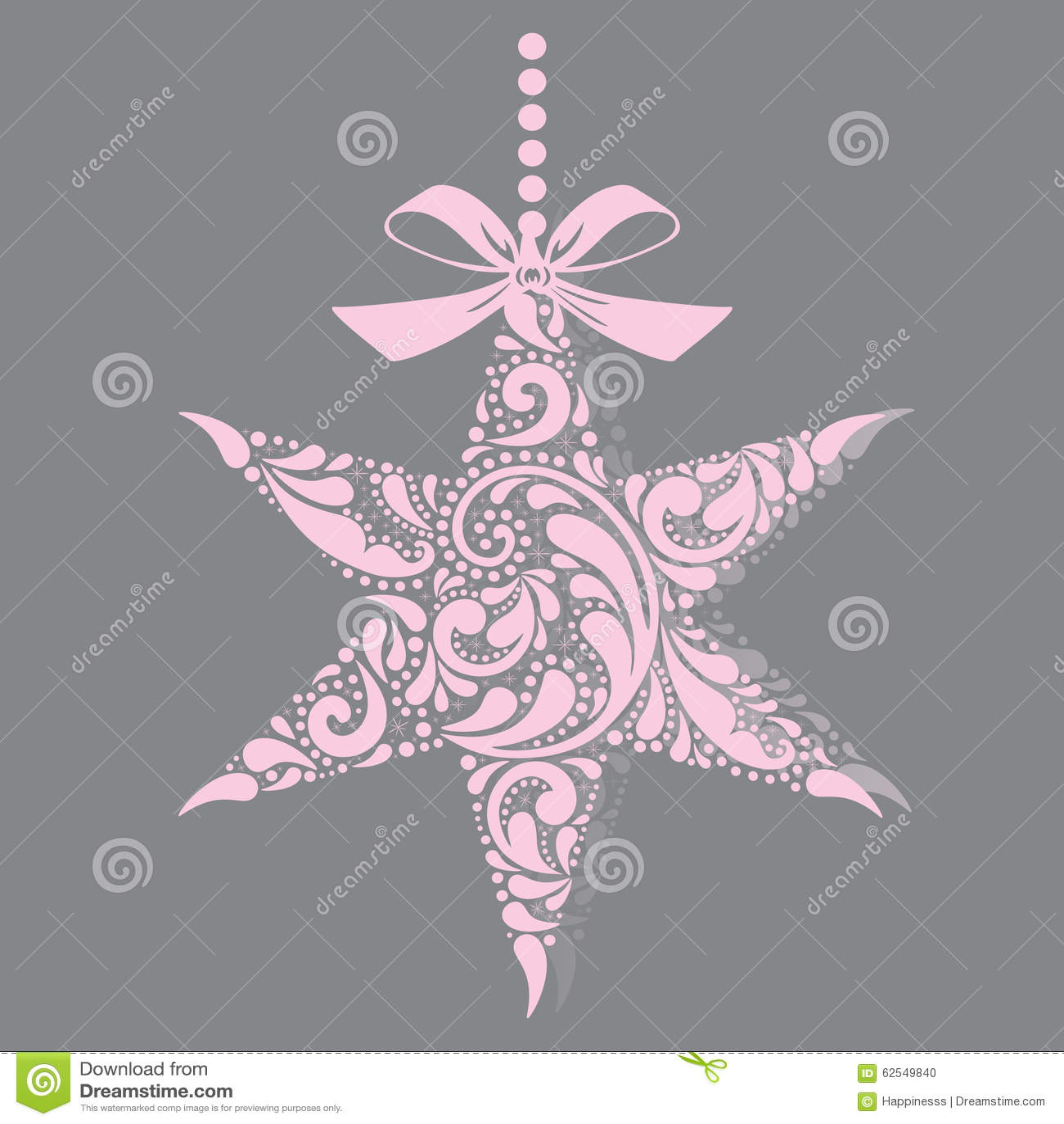 Weihnachtsstern Für Tannenbaum.Rosafarbener Weihnachtsstern Ein Spielzeug Auf Einem Pelzbaum Mit