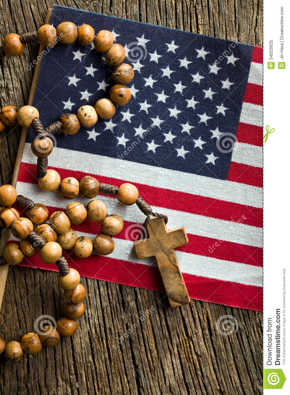 Rosary Beads With American Flag Royalty Free Stock Photo