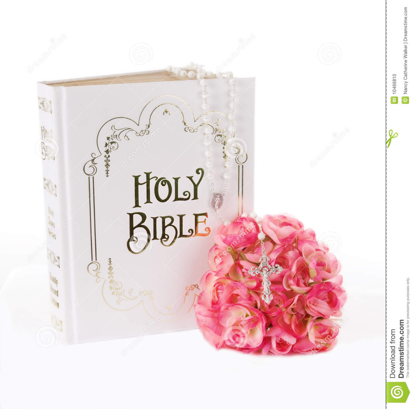 Rosary, Bible and Flowers