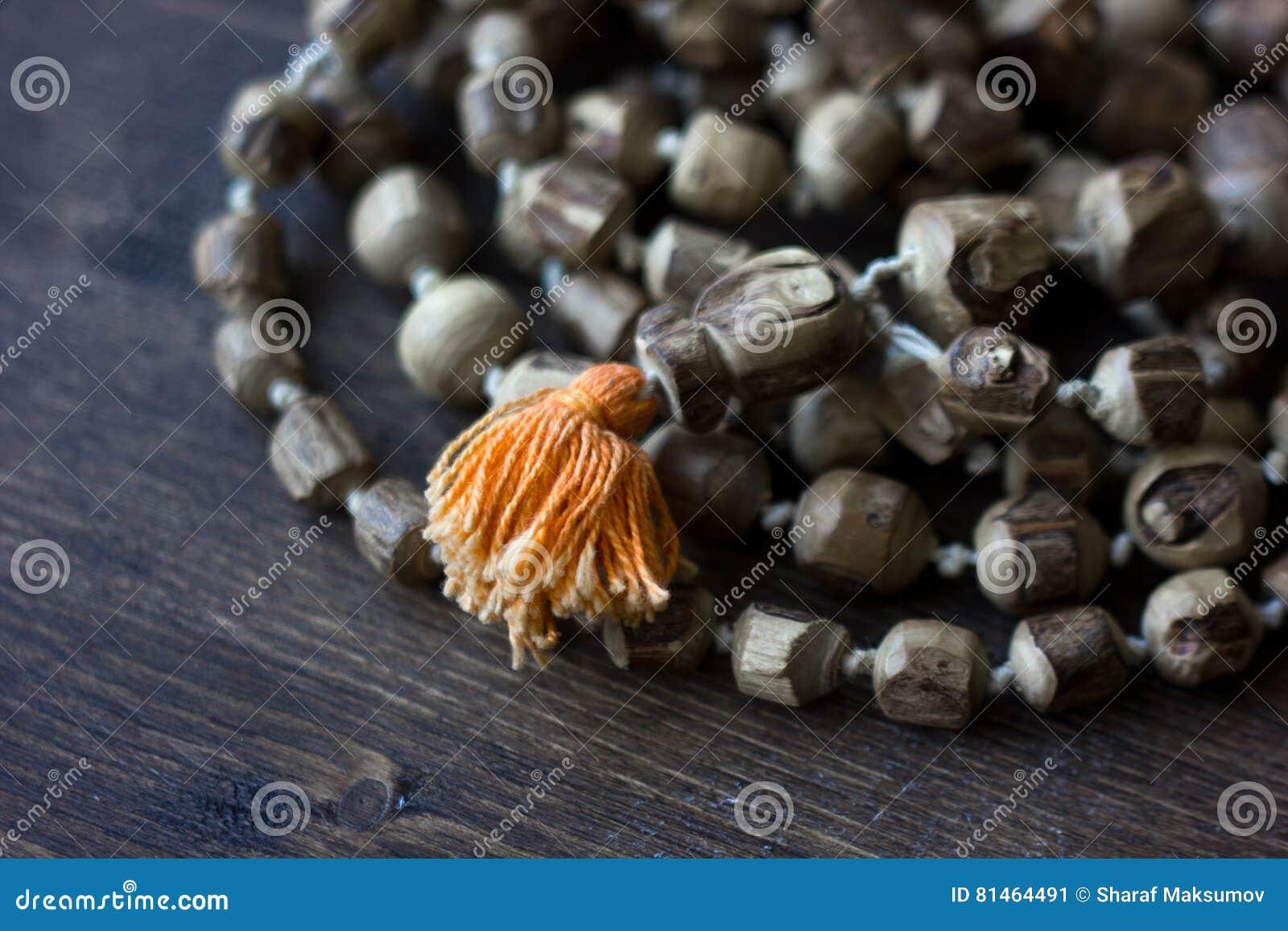 Rosary mala Japa - rosary hinduism και buddism έκανε από το δέντρο tulsi για krishna λαγών
