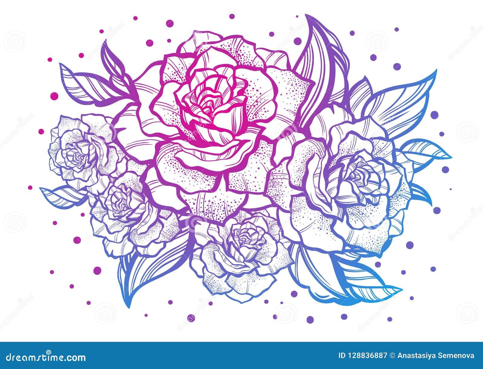 Rosas bonitas desenhados à mão Tatuagem Art Composição gráfica do vintage Ilustração do vetor isolada T-shirt, cópia, cartazes