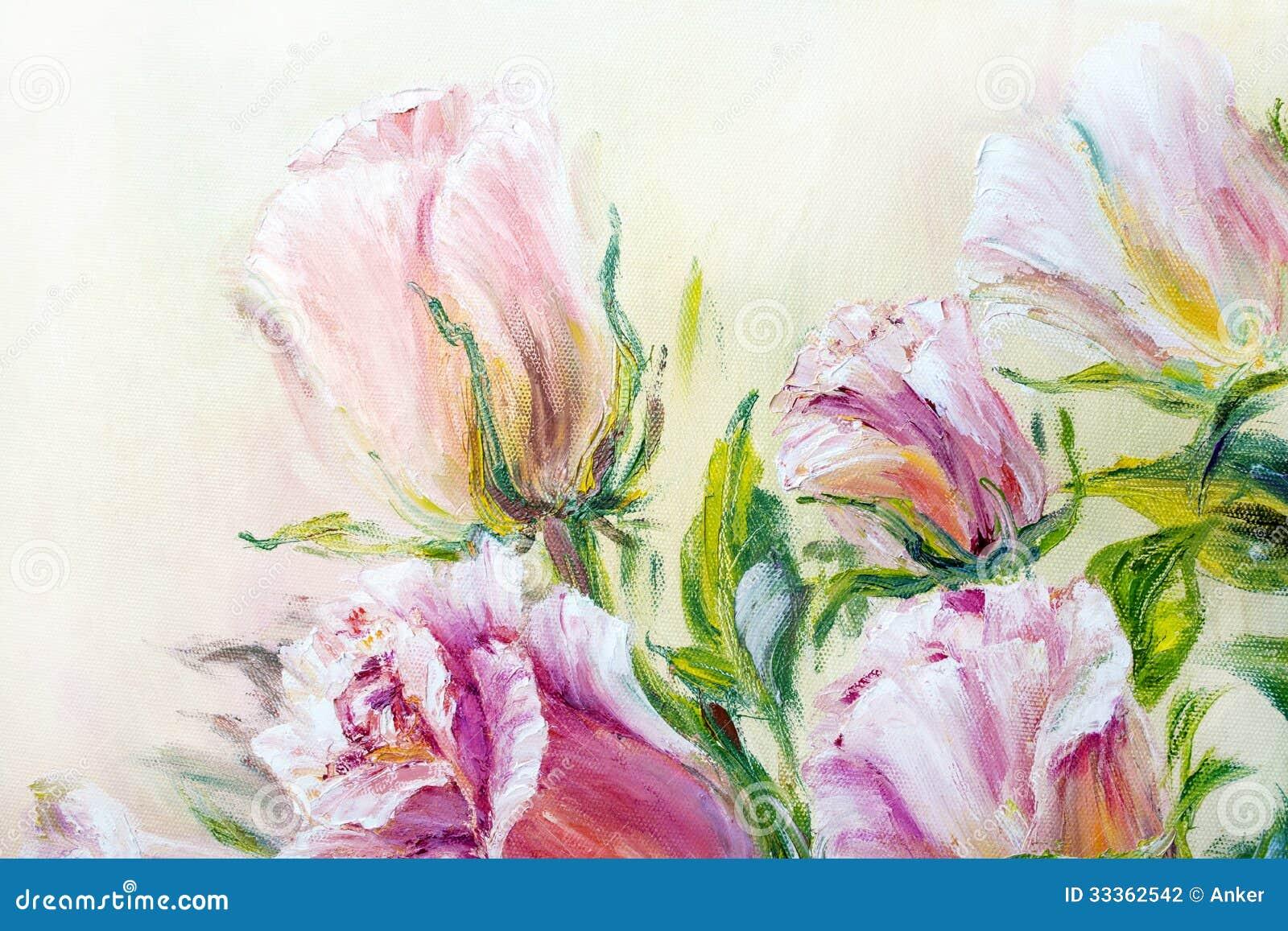 Rosas bonitas, pintura a óleo