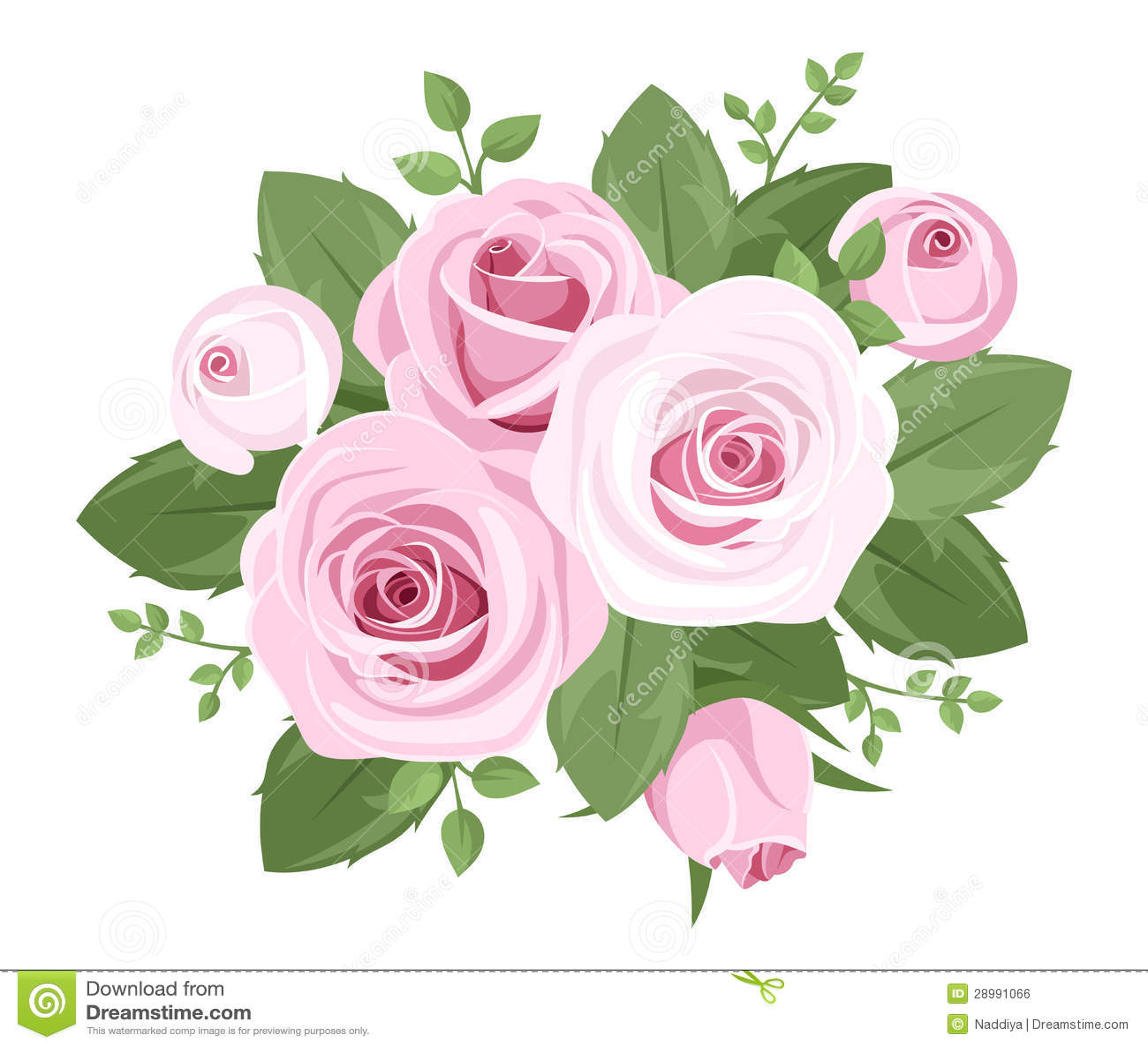 Rosas, capullos de rosa y hojas rosados.