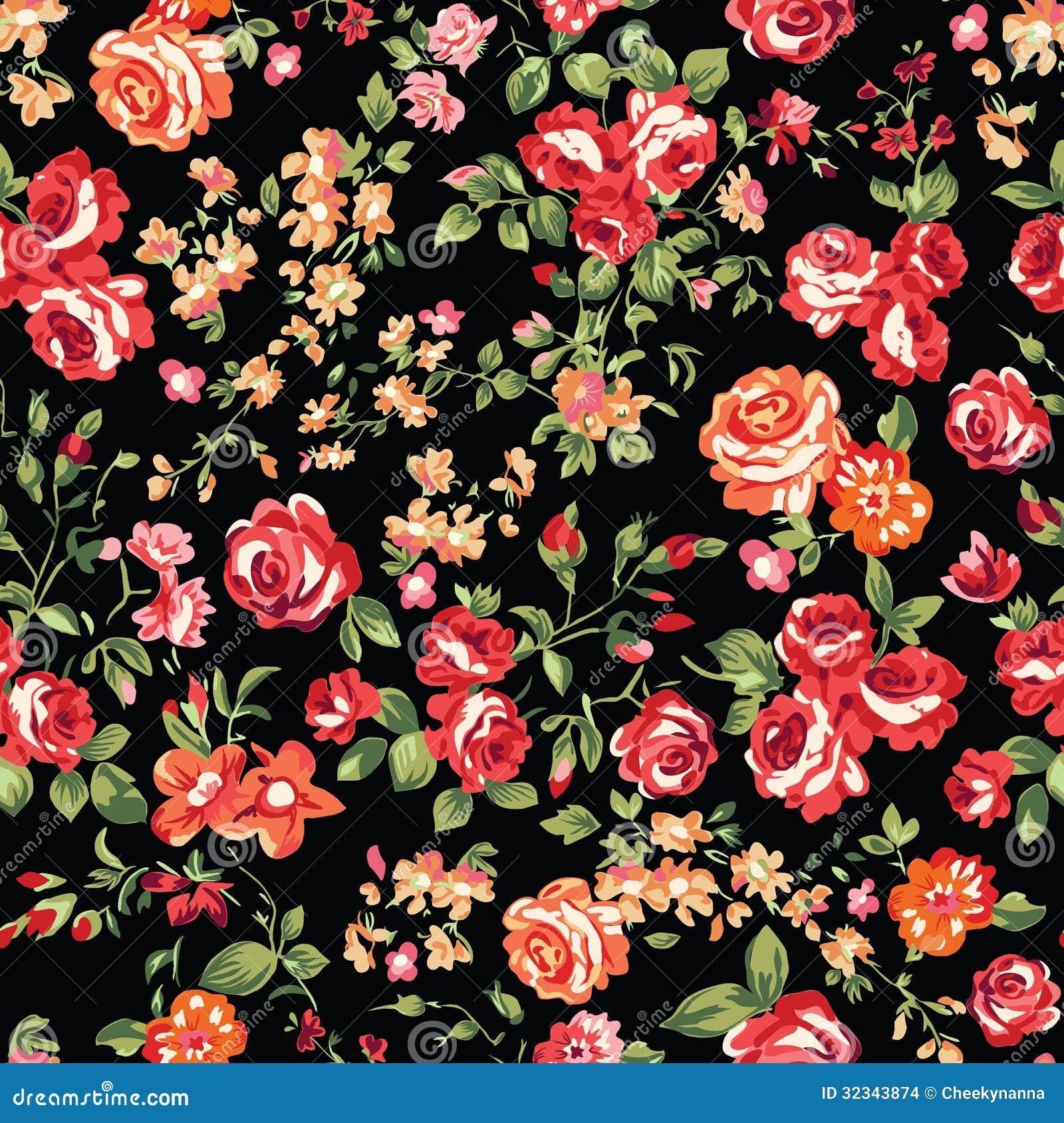 Dark Floral Ii Black Saturated Xl Wallpaper: Rosas Clásicas En Negro Ilustración Del Vector