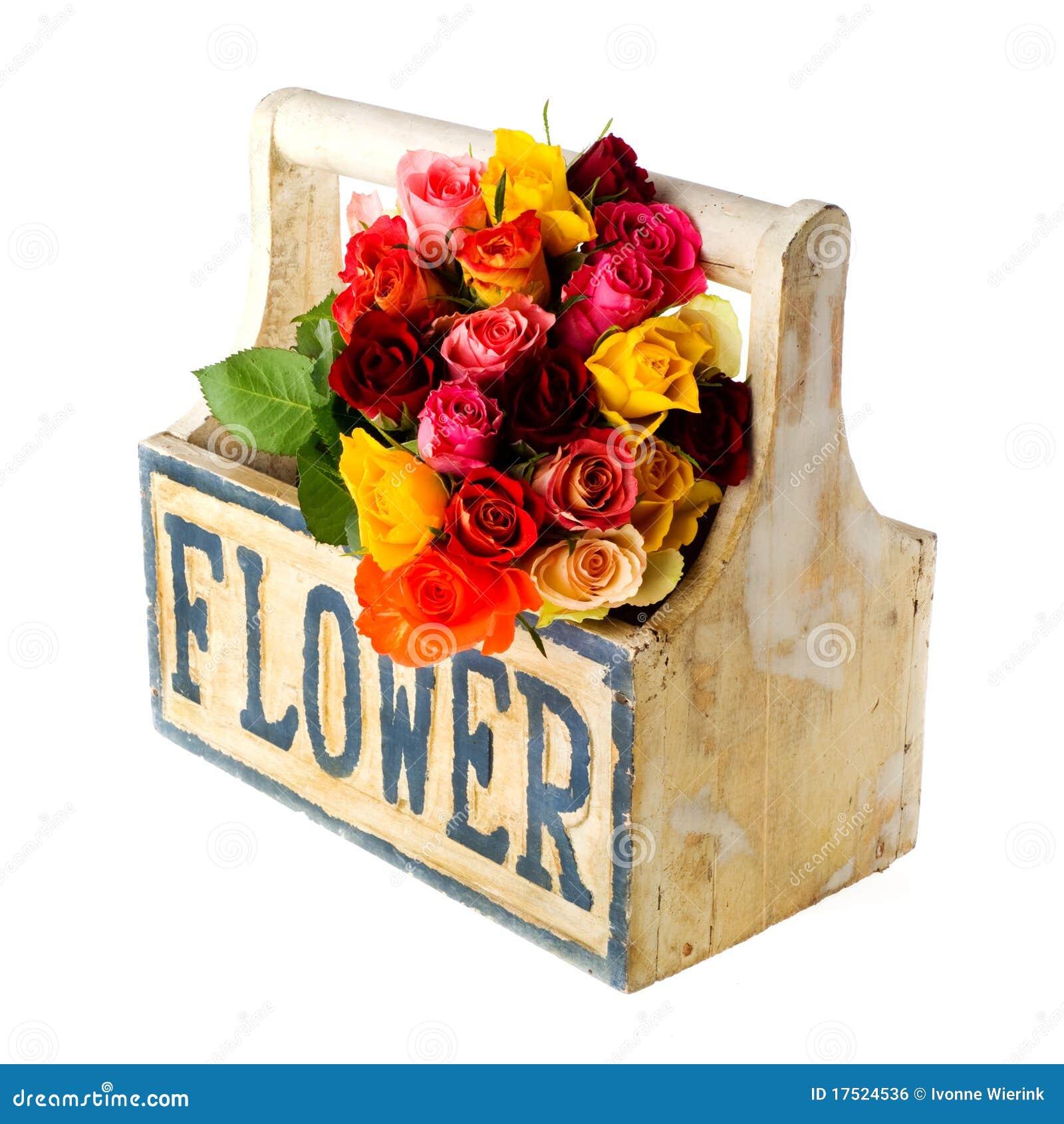Rosas Coloridas Da Caixa De Madeira Imagem de Stock Royalty Free  #7F190C 1300x1390