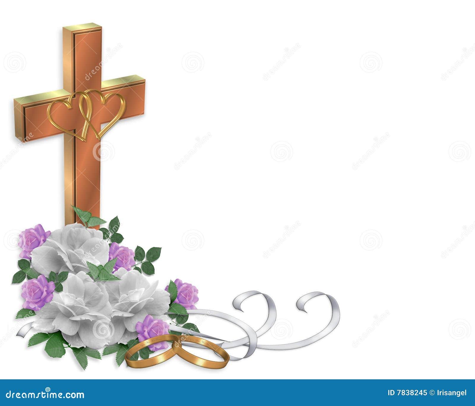 Rosas De La Frontera De La Invitación De La Boda Cristianas