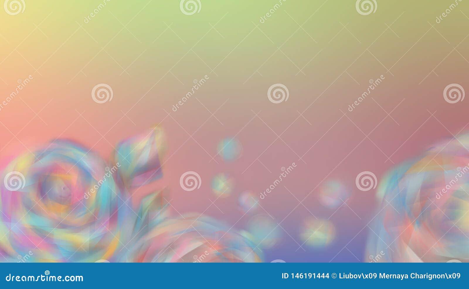 Rosas de las flores en un fondo hermoso borroso del color del arco iris Rosas borrosas