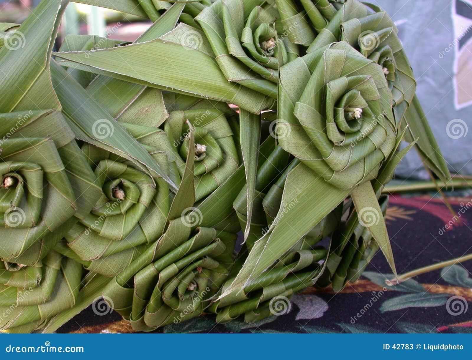 Rosas em folha de palmeira