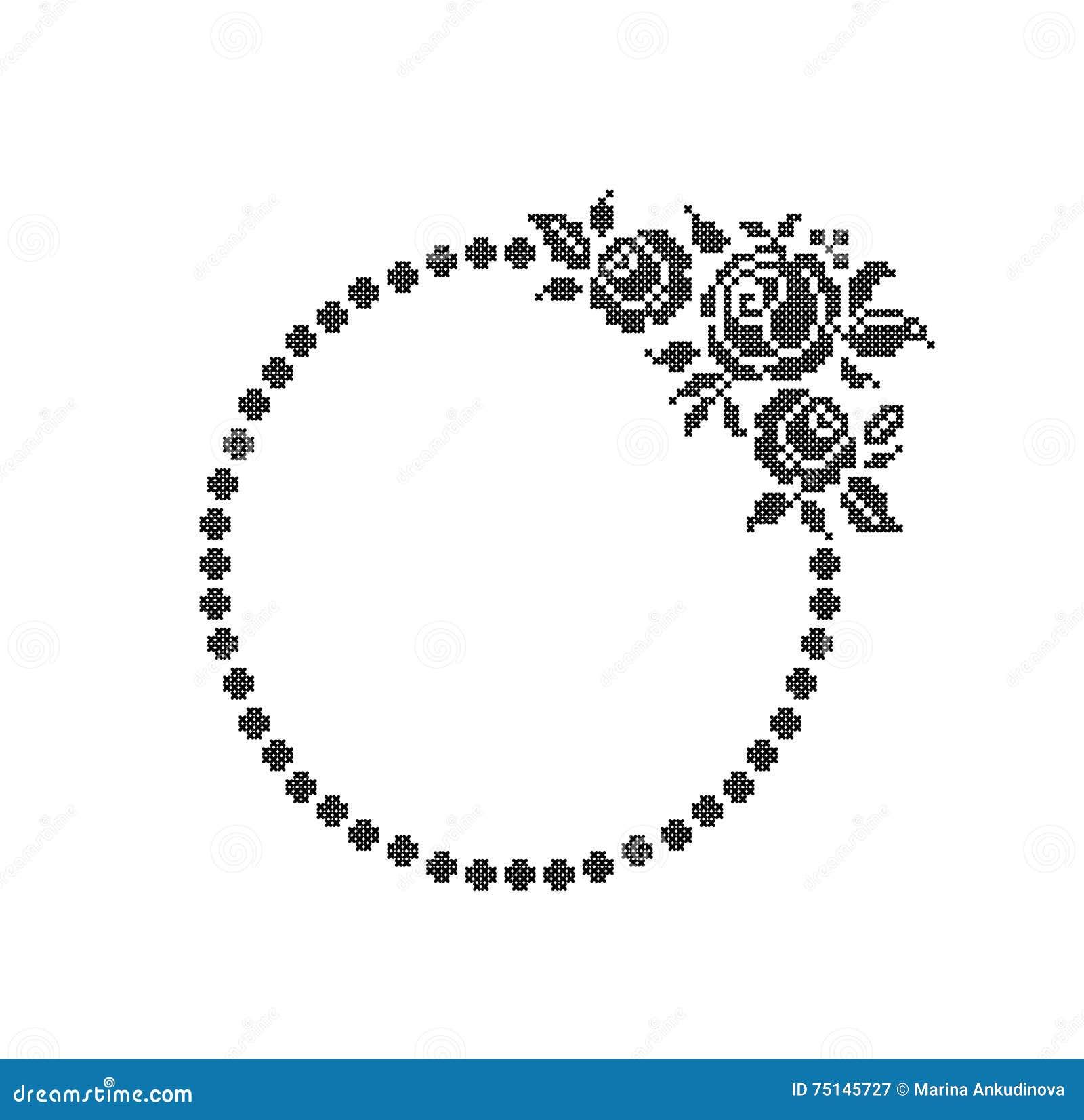 Rosas Flores Marco redondo ilustración del vector. Ilustración de ...