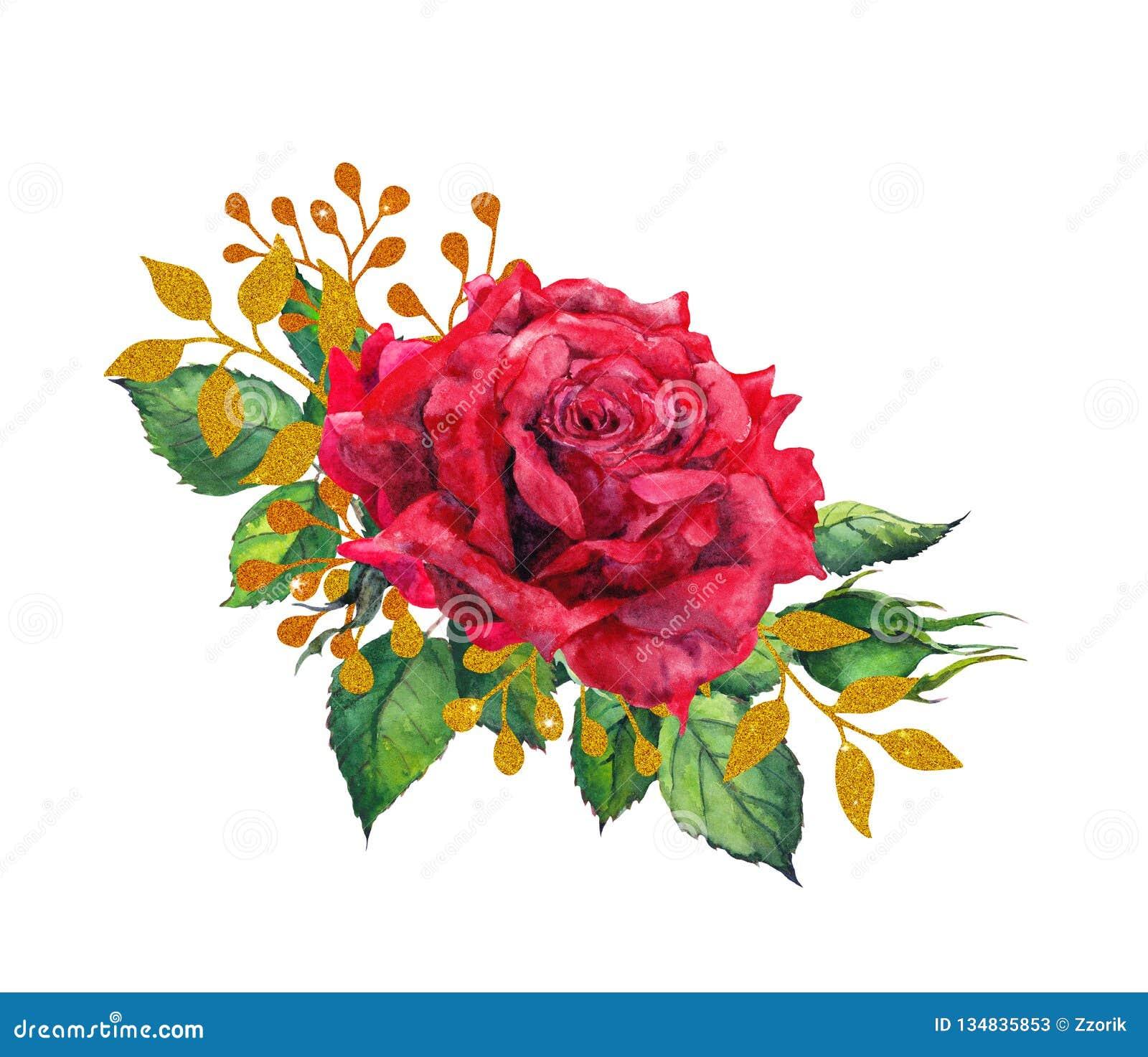 Rosas rojas con las hojas de oro Flor de la pintura de la acuarela
