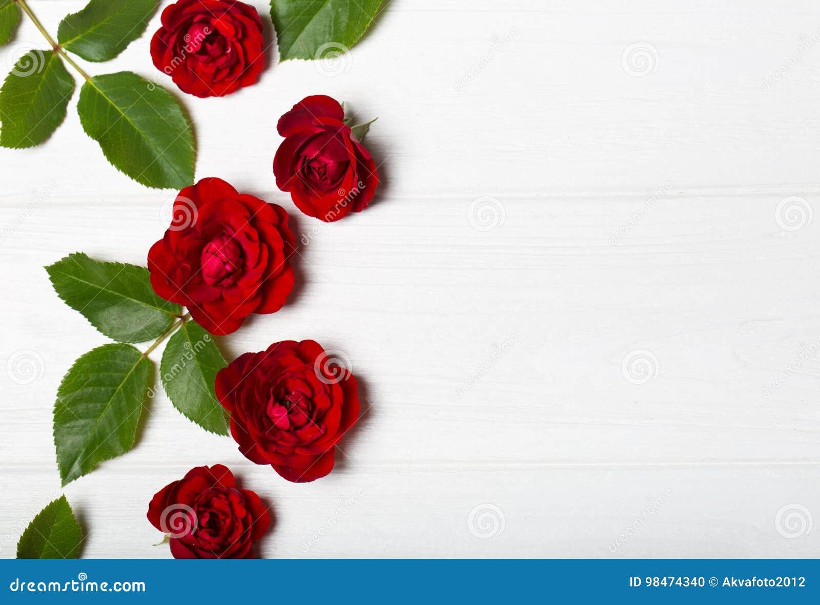 Rosas rojas Flores hermosas en una tabla deoevian blanca