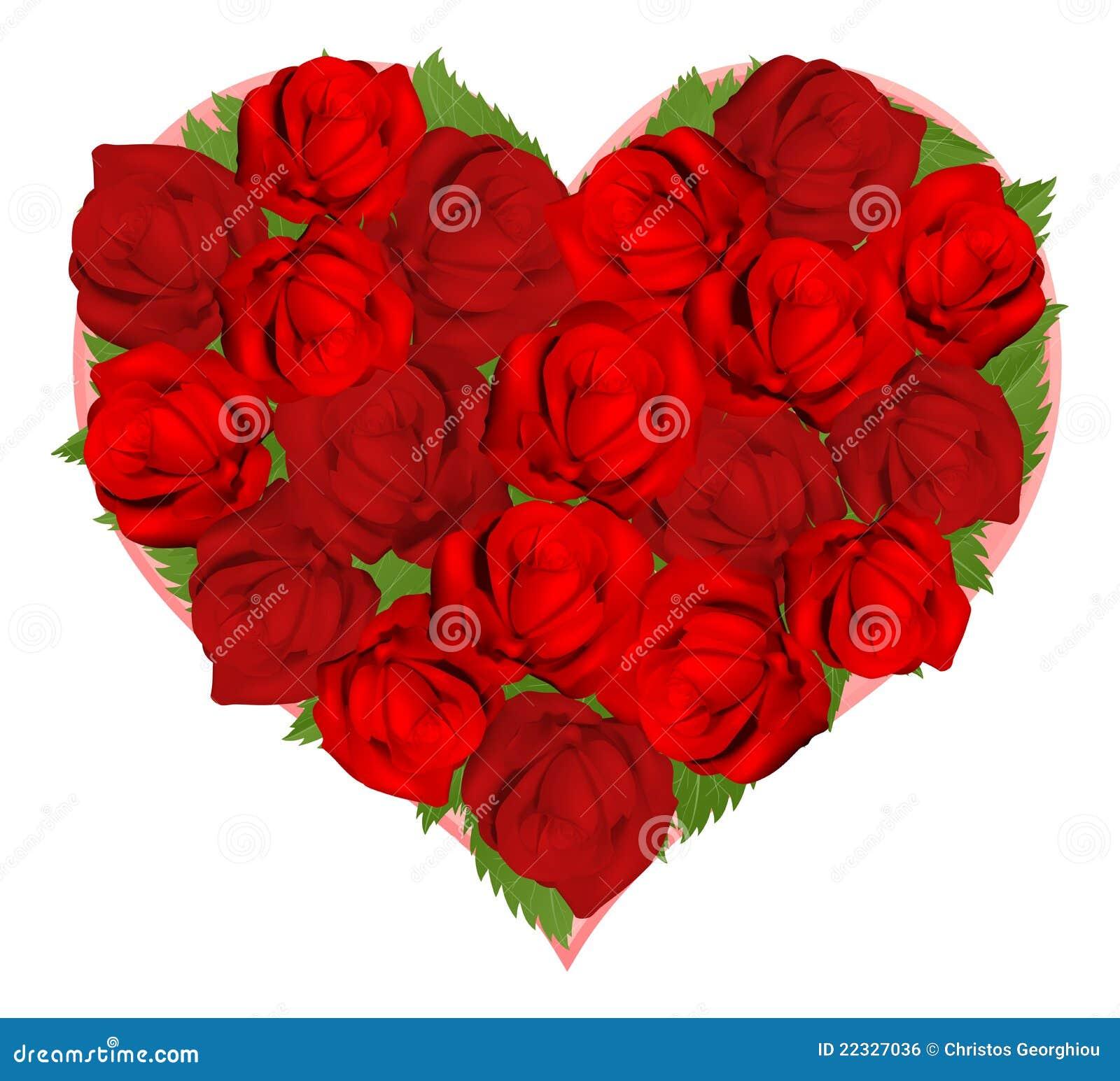 Rosas rojas hermosas en dimensión de una variable del corazón