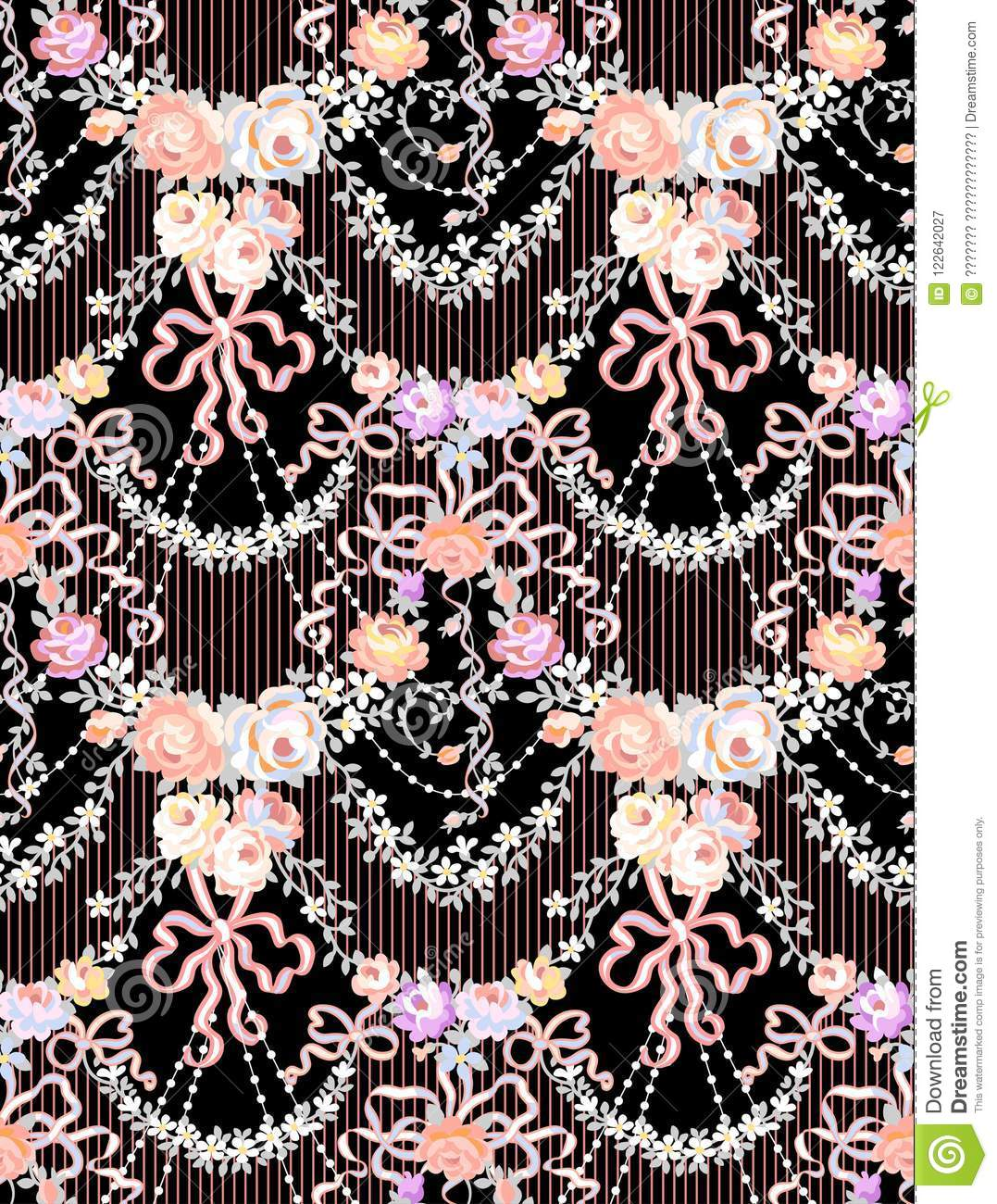 Rosas románticas Garland Multicolor Vector Seamless Pattern