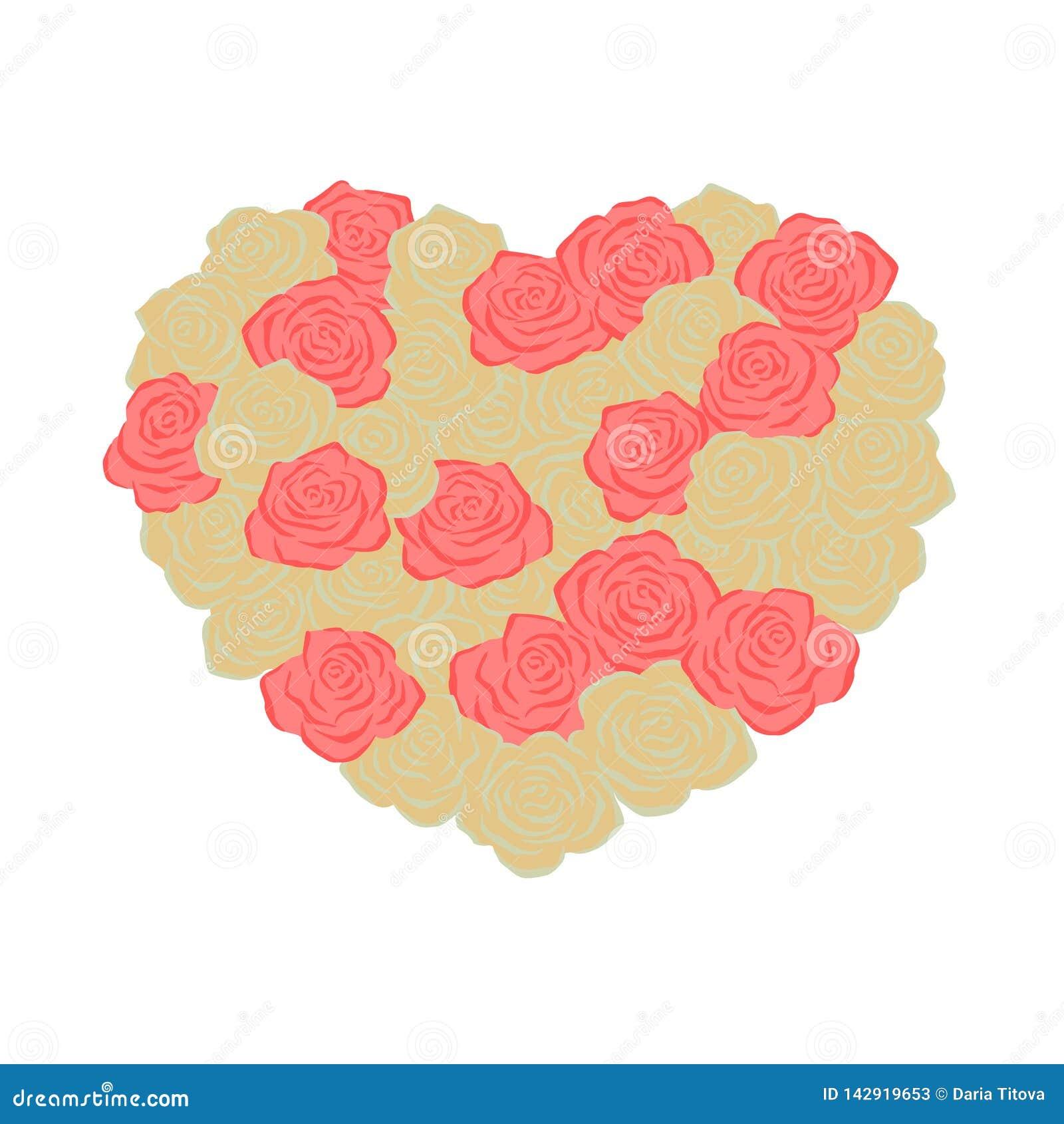 Rosas românticas Forme do coração Amor