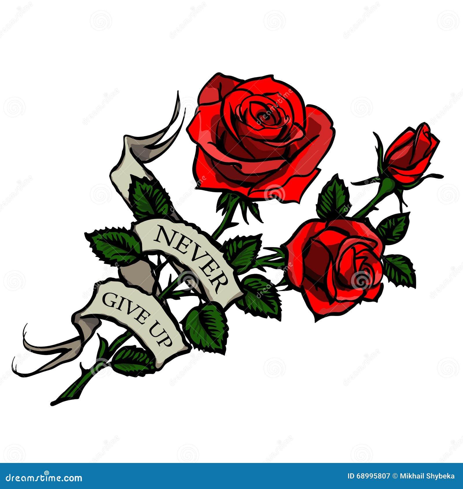Ilustrao Stock Rosas Vermelhas Da Tatuagem Do Vetor Image68995807 on Tumblr Transparent Flowers Rose