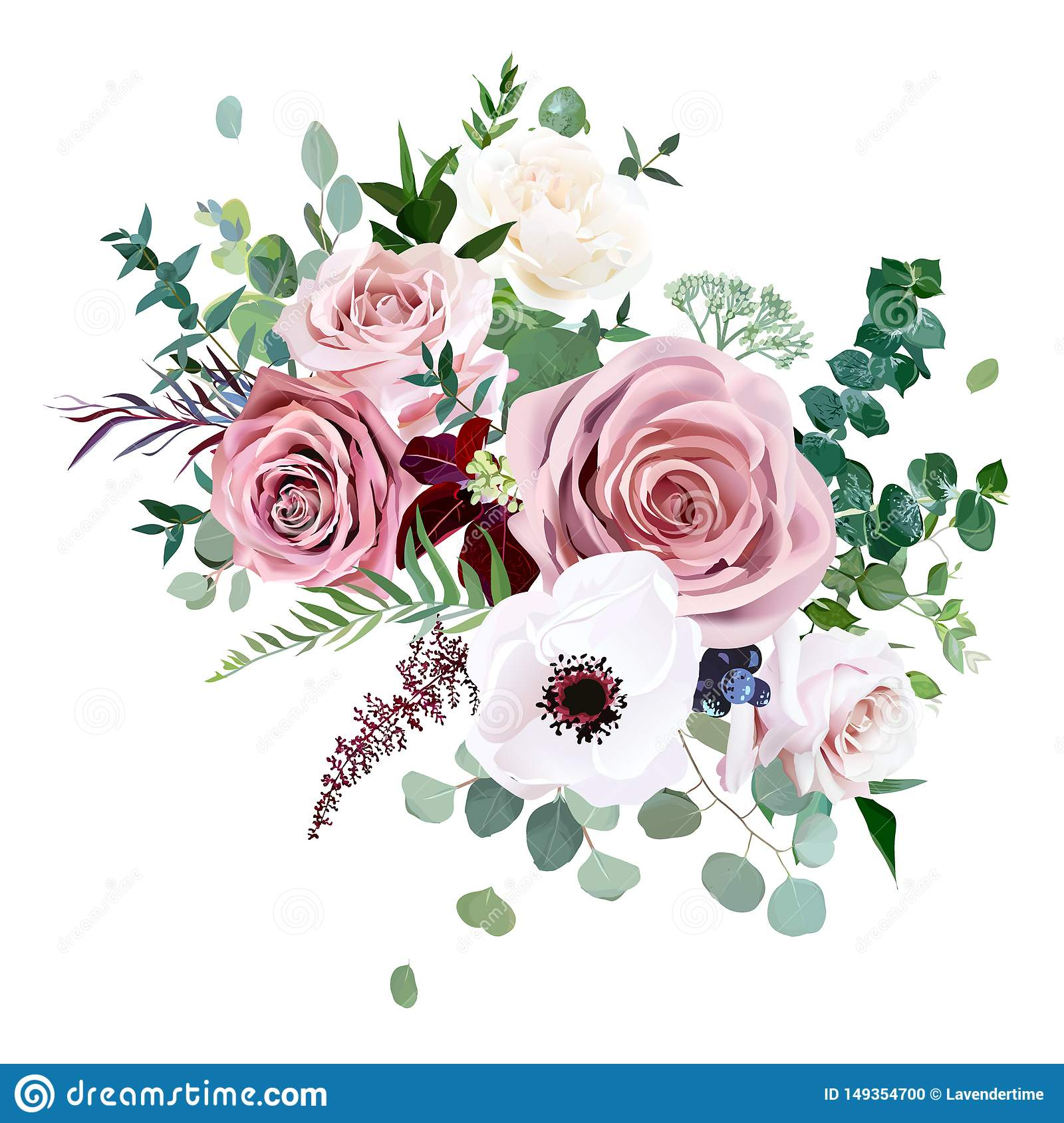 Rose Anemone Pale Flowers Vector Design Wedding Bouquet Stock Vector Illustration Of Branch Border 149354700
