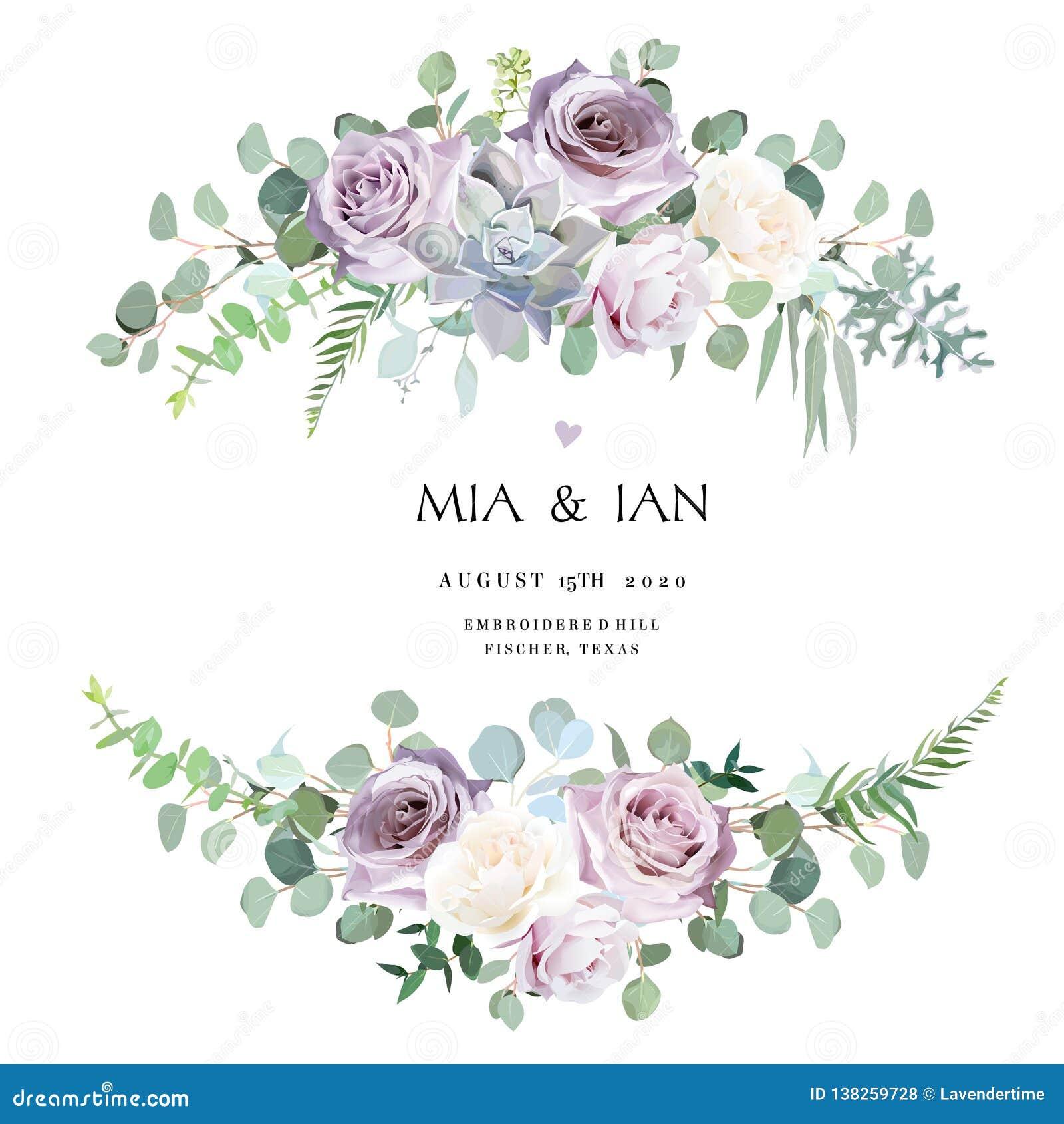 Rose antique de lavande, crémeuse et mauve violette poussiéreuse, fleurs pâles pourpres