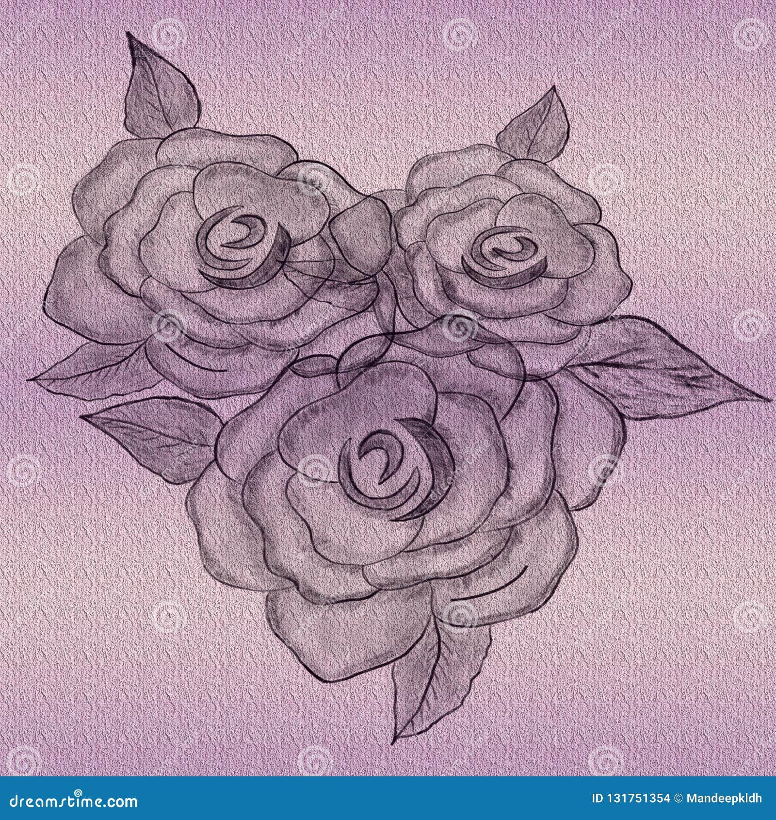 Rose Artwork gravada Projeto tirado mão para artes finalas muito criativas