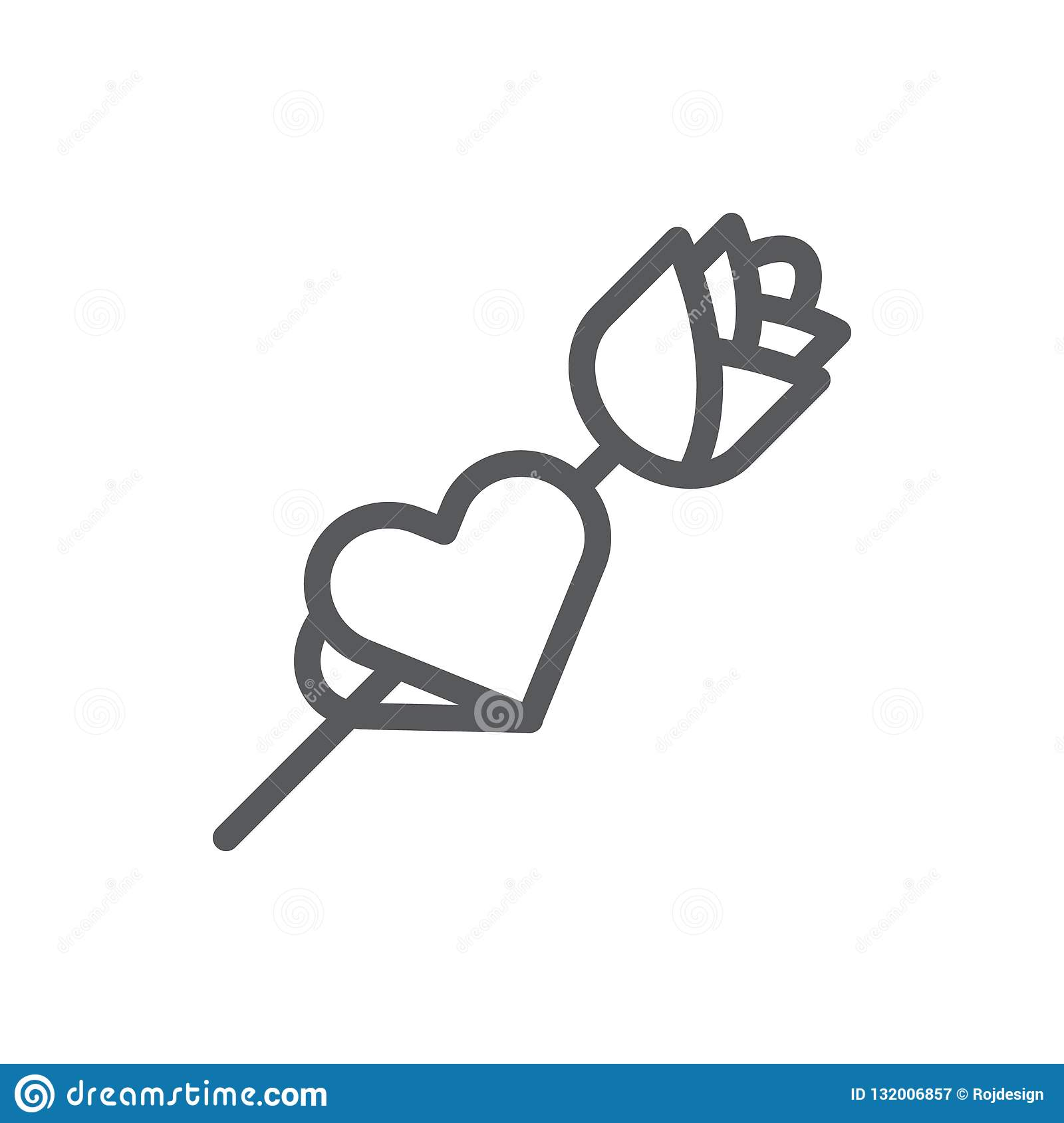 Rose avec la carte sous la forme de ligne de coeur icône avec la course editable
