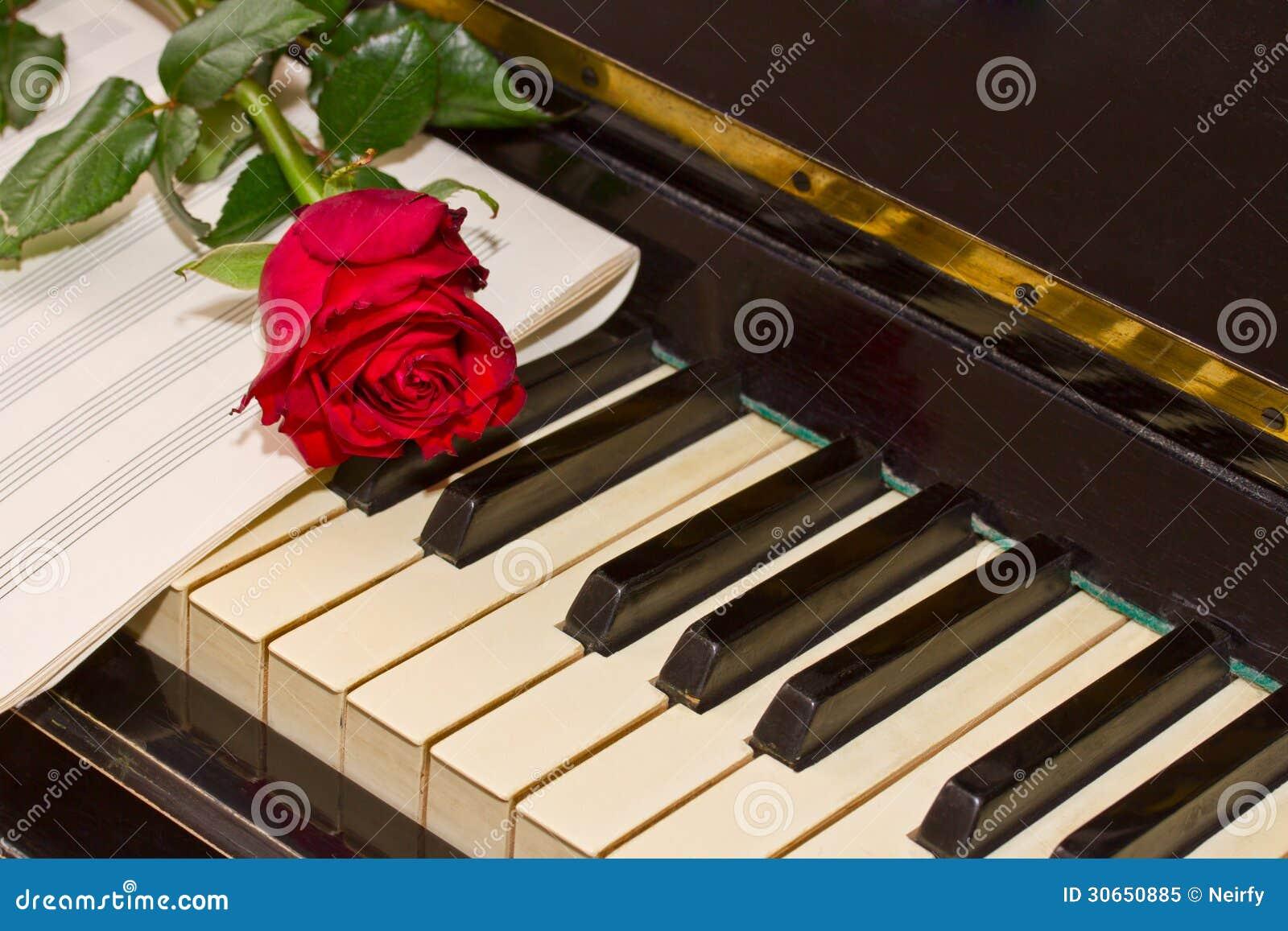"""Résultat de recherche d'images pour """"rose et bougie rouge sur un piano"""""""