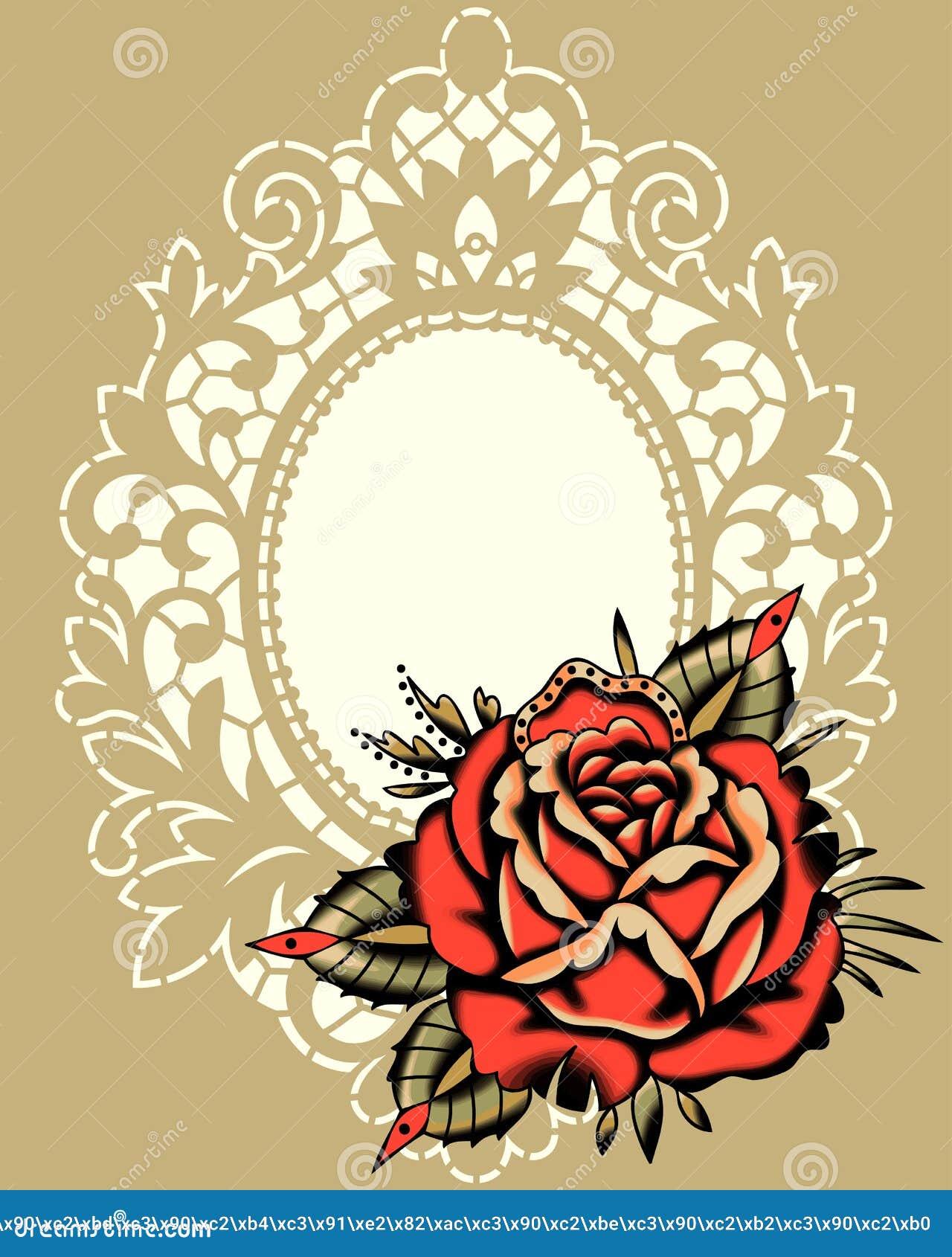 Rose Beige Lace Frame roja