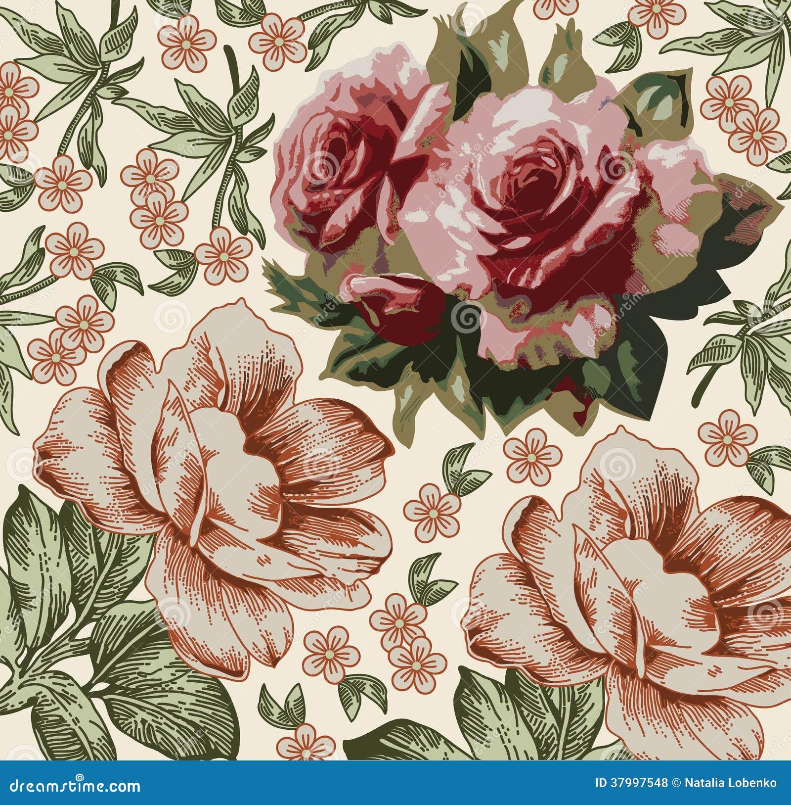 Rose. Bello fondo con un orname del fiore