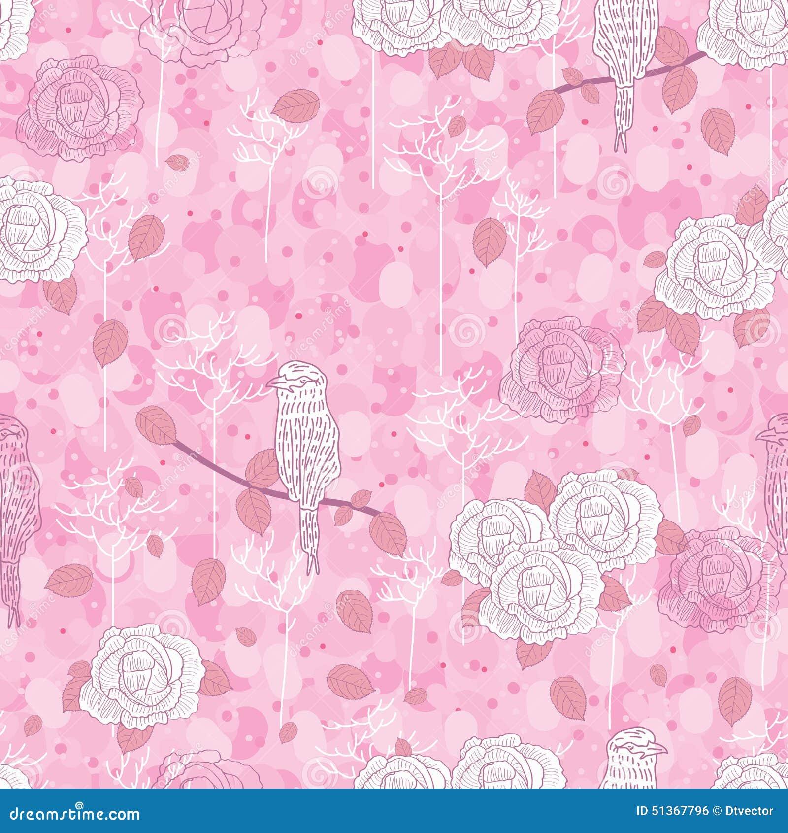 Rose bird abstract seamless pattern
