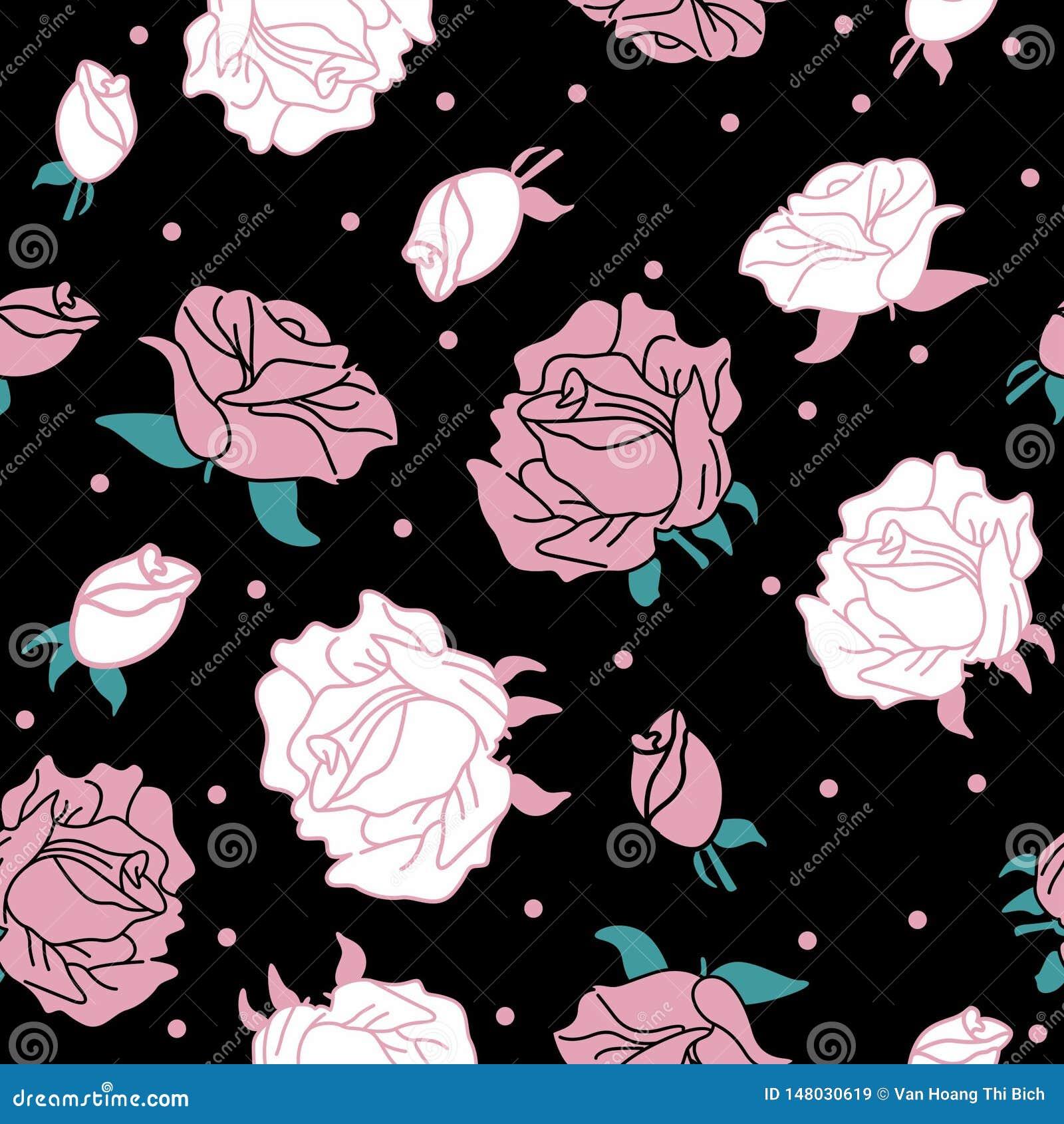 Rose on black background pattern seamless