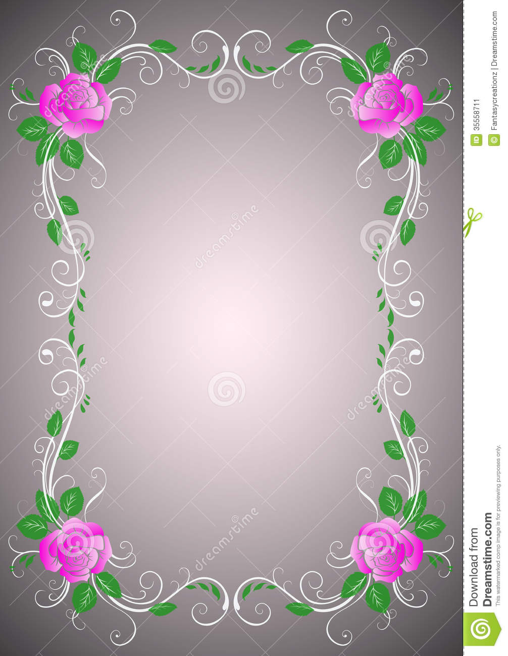 Floral border design with roses.