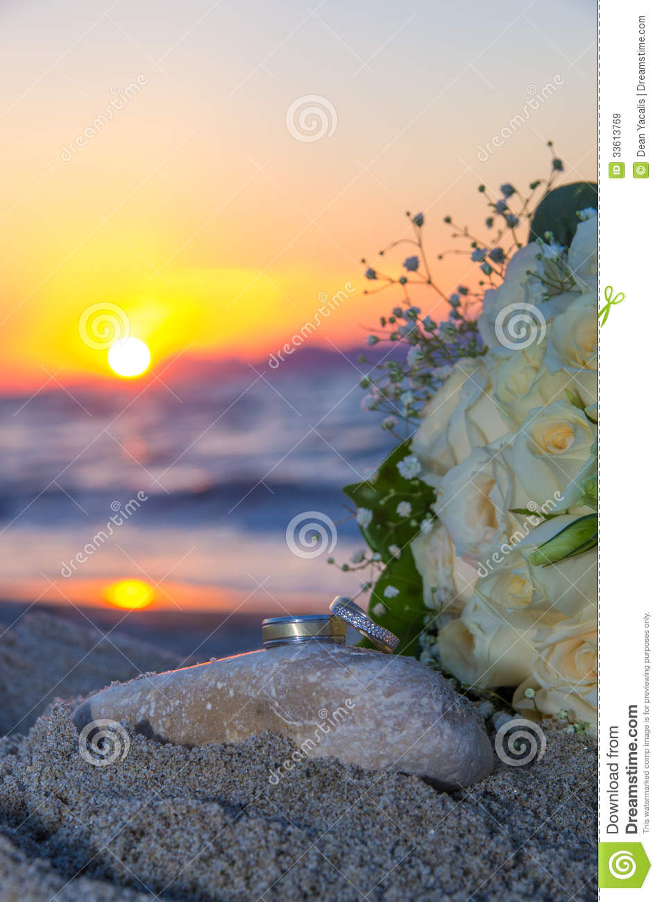 Rose Bouquet And Rings At Sunset Stock Image - Image: 33613769