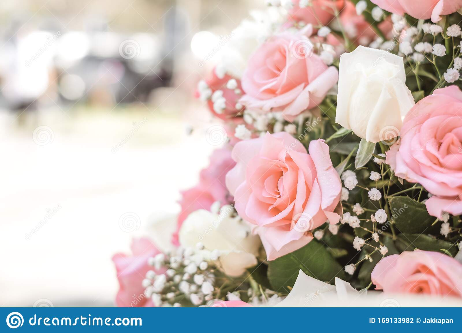 Rose Bouquet In Wedding Day Love And Romantic Background Stock