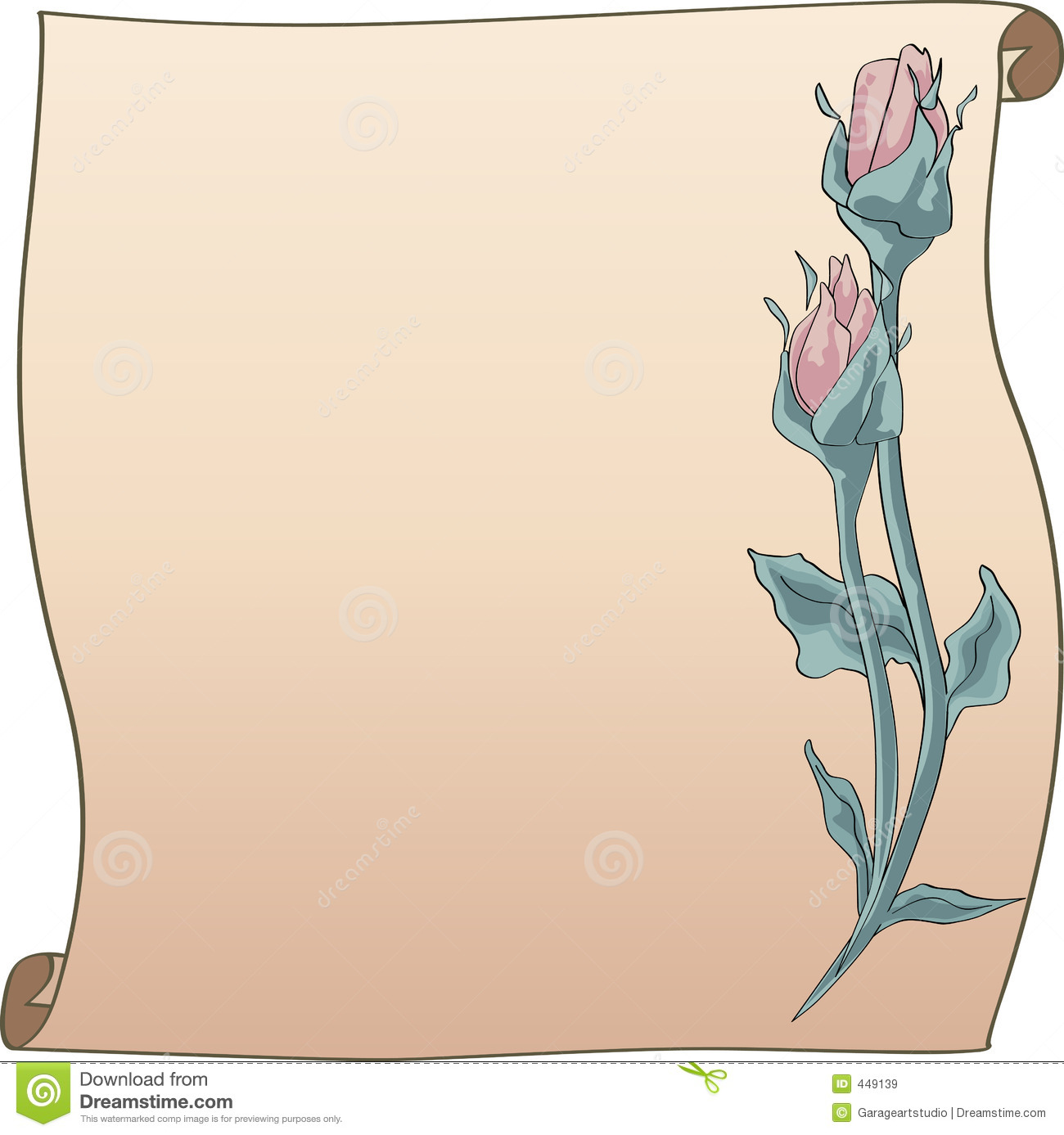 Rose Bud frame and scroll stock vector. Image of bouque ...