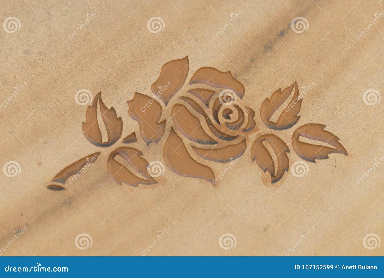 Rose Carved Into Stone Surface Stock Image Image Of Catholic