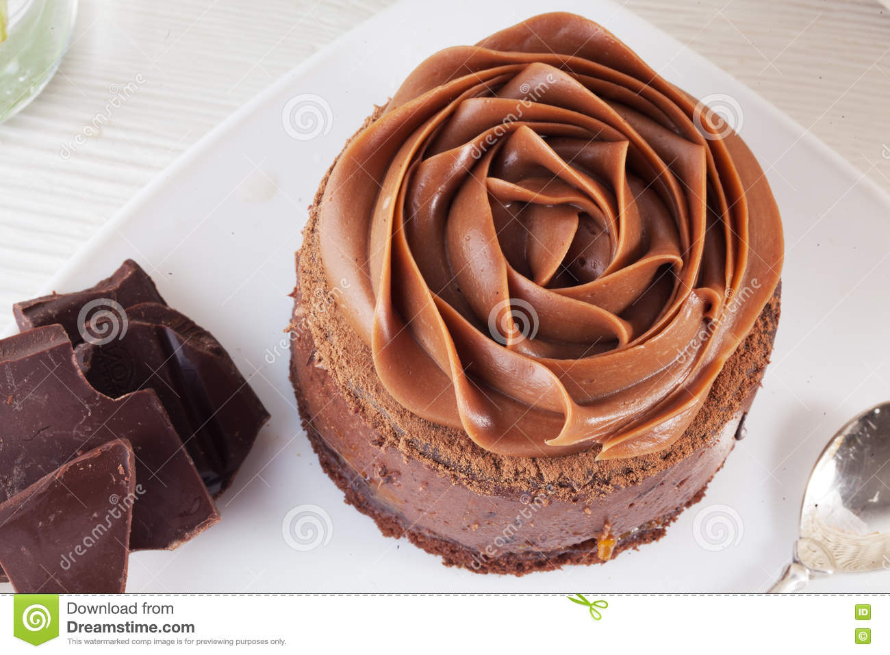 Rose Chocolate Mousse Cake On A Beautiful Plate Cream Stock Image