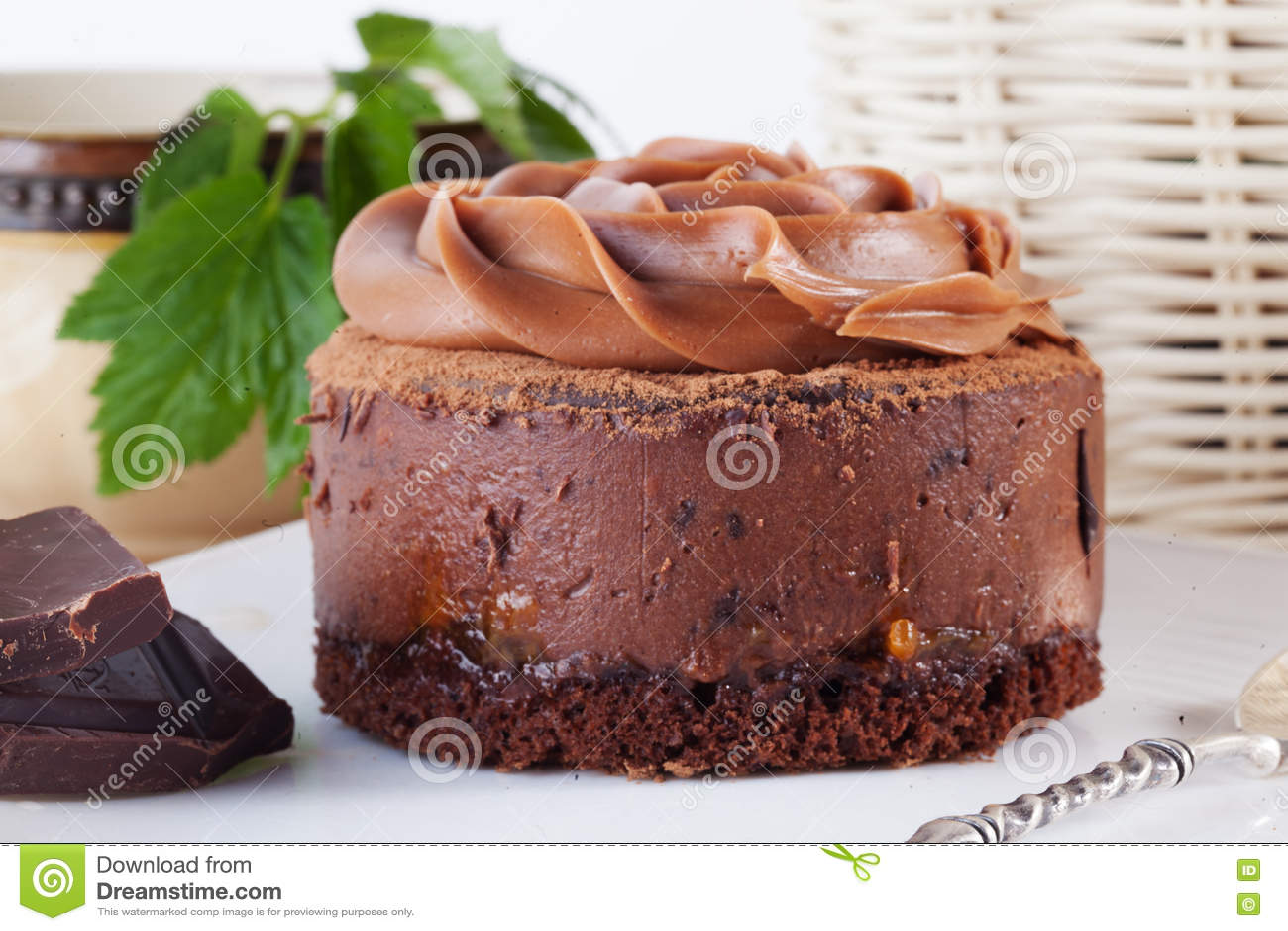 Rose Chocolate Mousse Cake On A Beautiful Plate Cream Stock Photo
