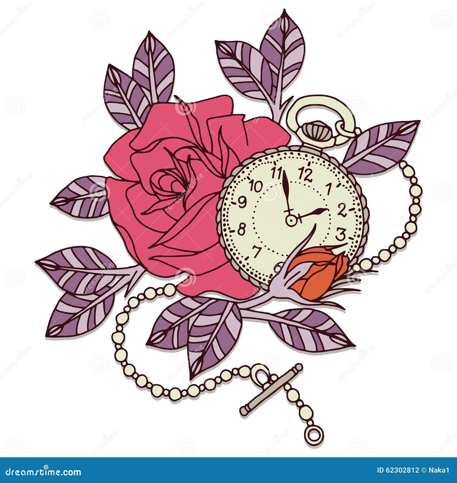 Rose Clock Tattoo Design Stock Illustratie Illustratie Bestaande