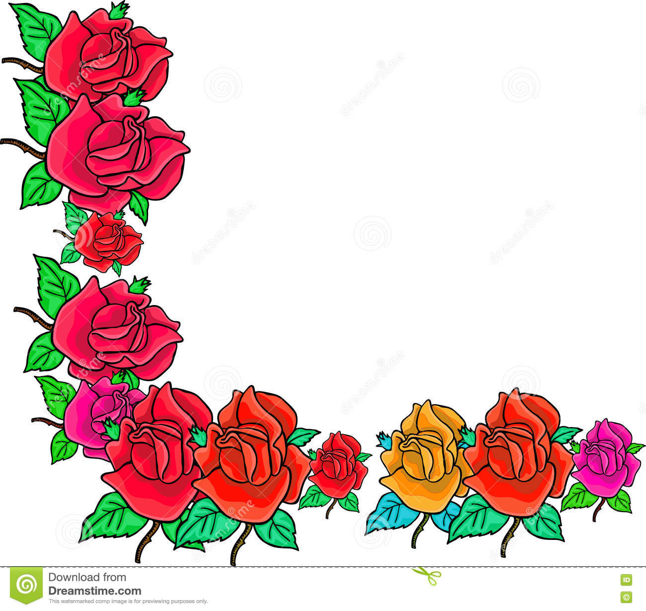 0d96e183af943 Rose Corner Border stock illustration. Illustration of white - 79999748