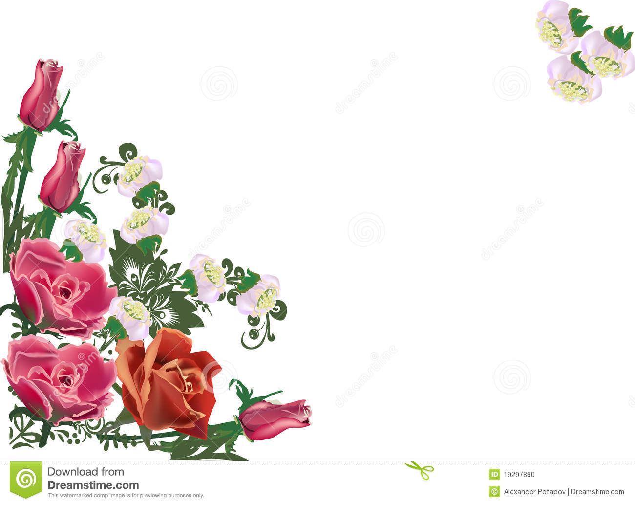 Rose Corner Decoration On White Stock Photo