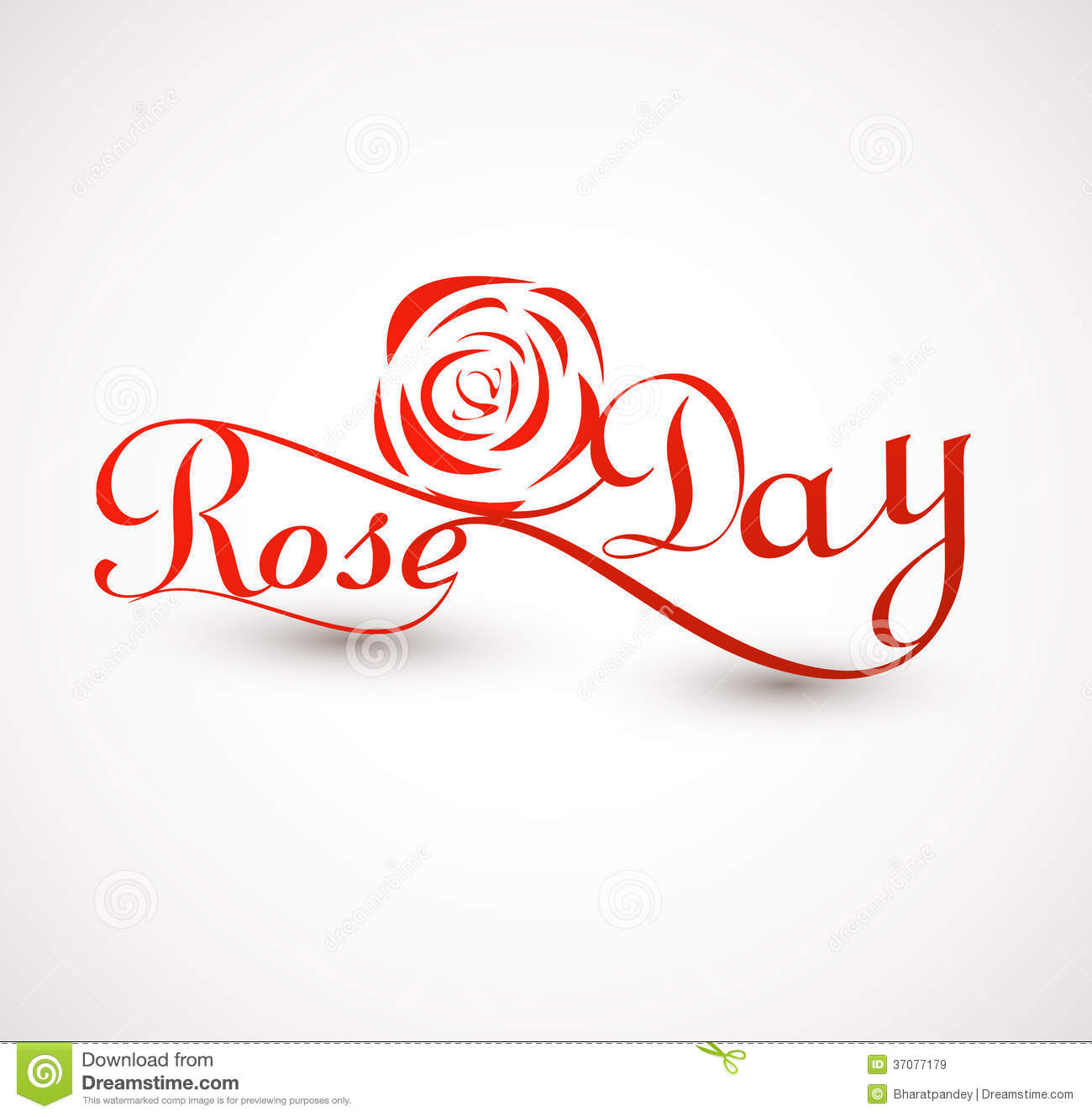 Rose Day For Valentine Week Colorful Typography Text Royalty Free ...