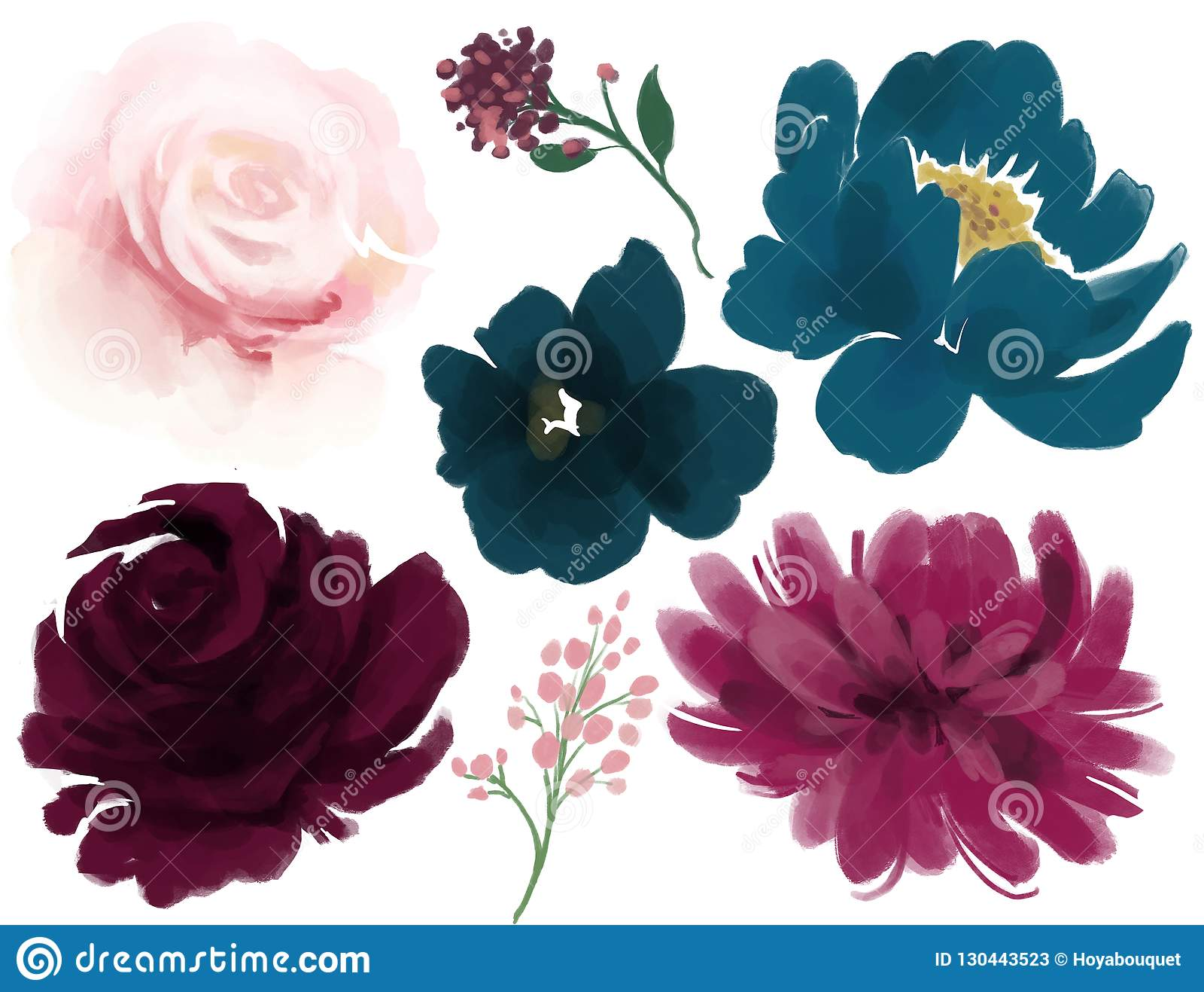 Rose de bleu marine de rose de pivoine de fleur d aquarelle et de marsala de feuilles