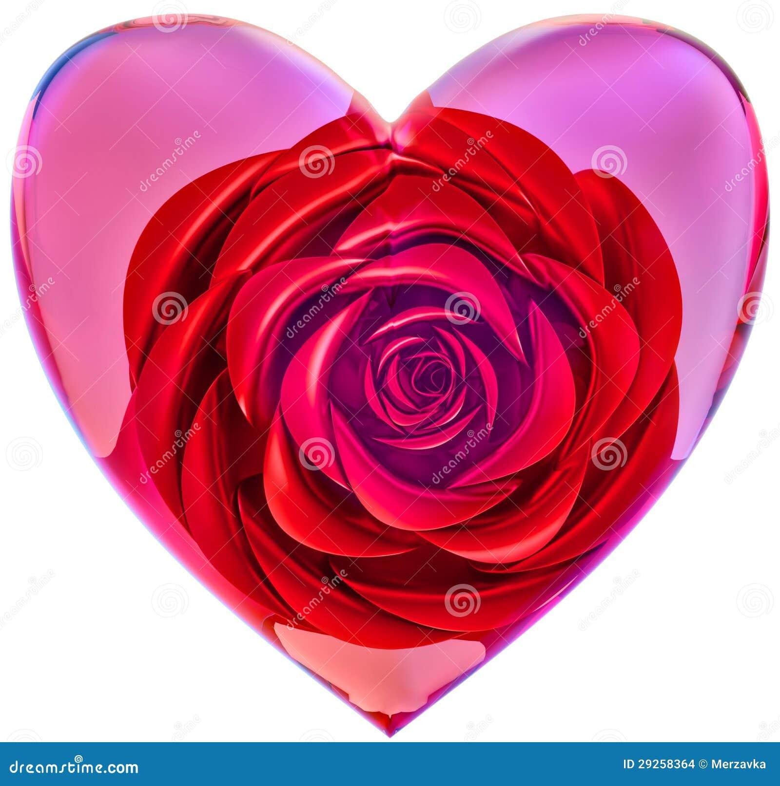 Rose de rouge au coeur en verre pour la saint valentin illustration stock illustration du - Coeur pour la saint valentin ...