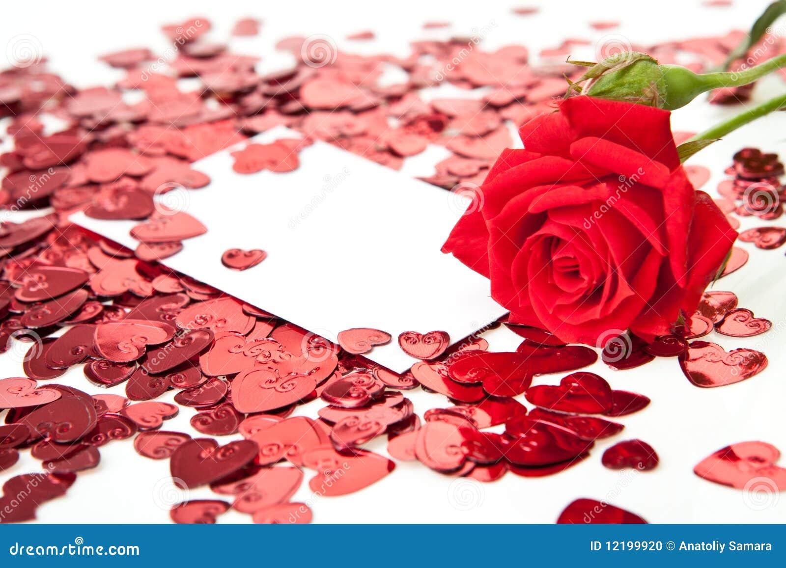 Rose De Rouge Et Carte Vierge D Invitation Photo Stock Image Du Enveloppe Roman 12199920