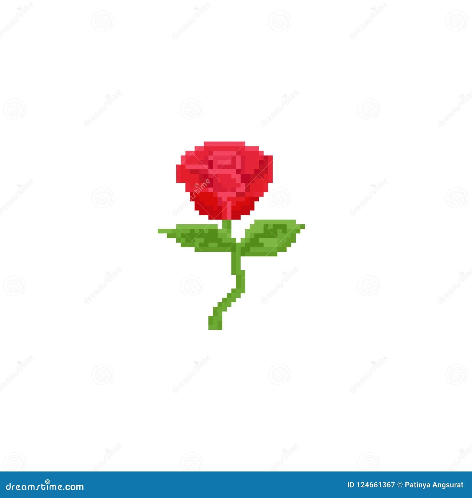 Rose De Rouge De Pixel Fleur 8bit Illustration Stock